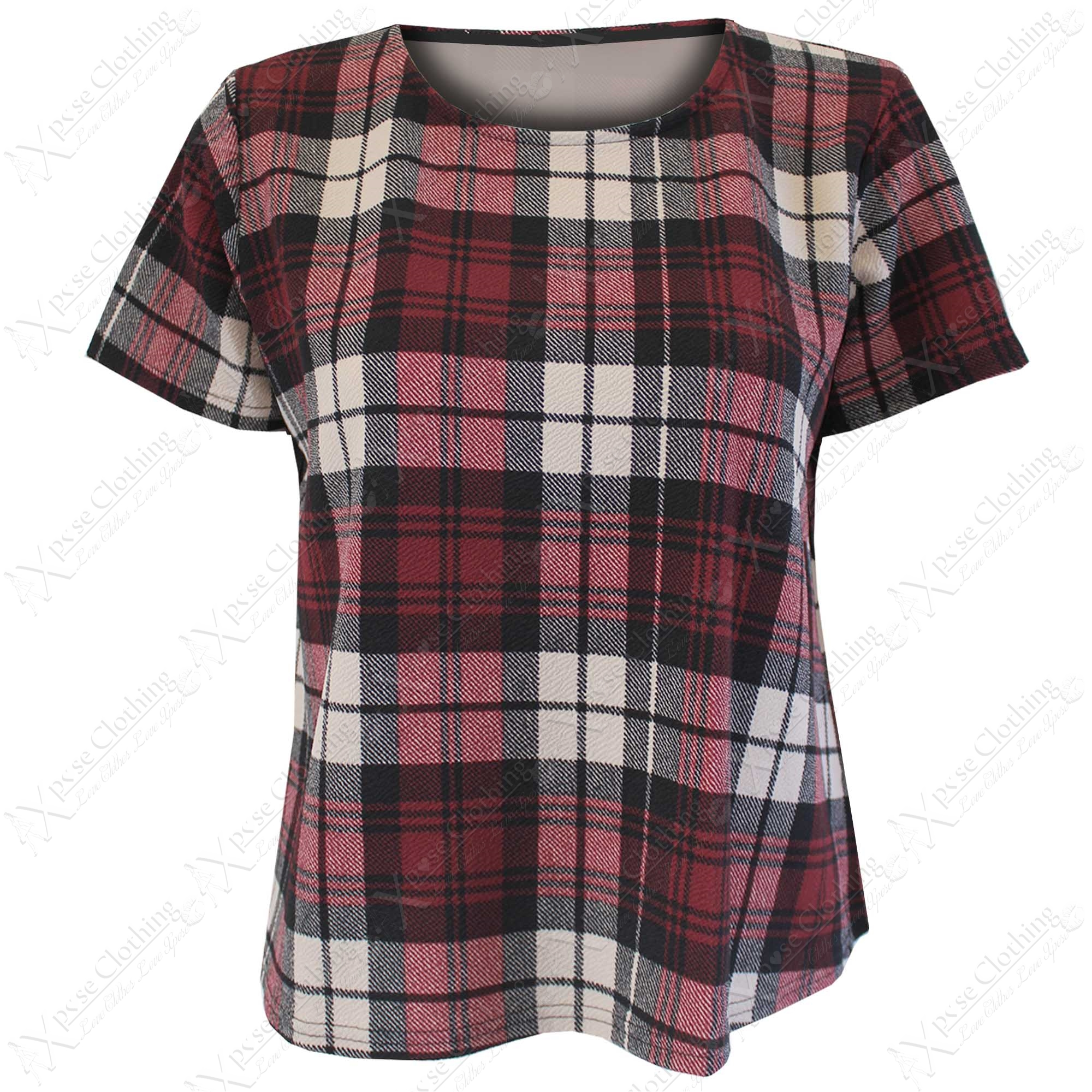 New Ladies Leopard Check Crop Boxy Tops Womens T Shirts