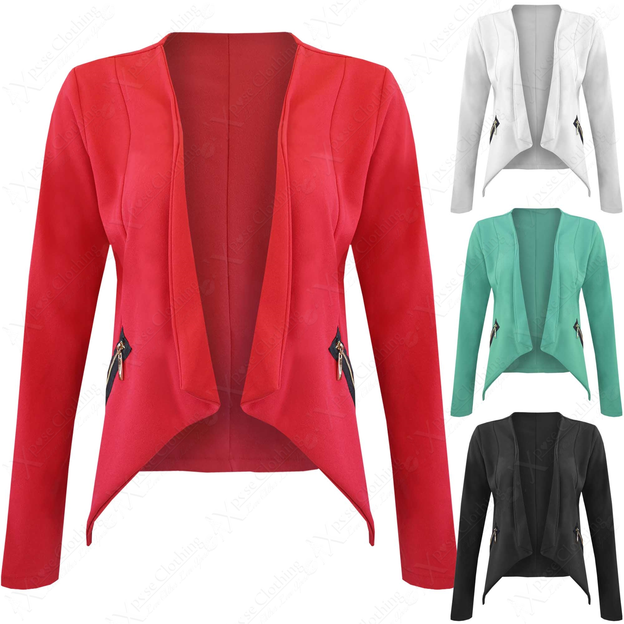 new ladies womens zip waterfall drape blazer long sleeve. Black Bedroom Furniture Sets. Home Design Ideas