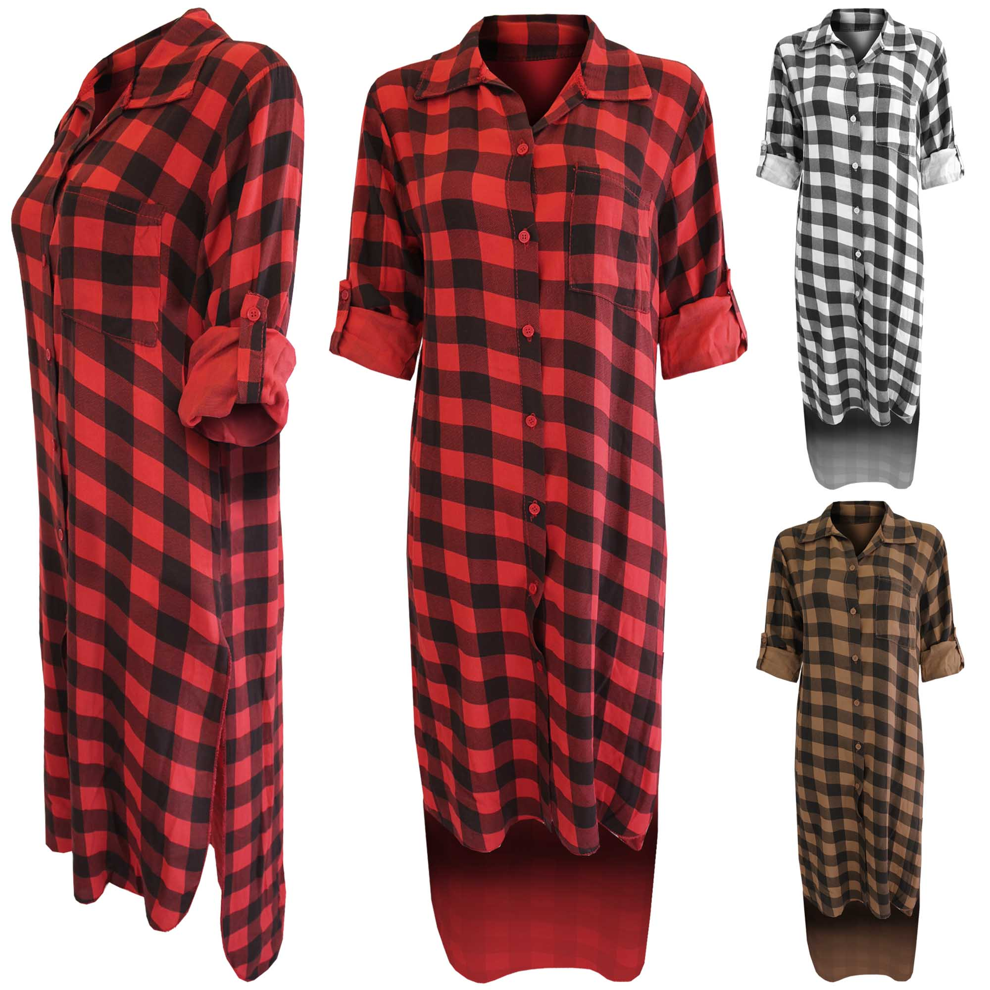 NEW LADIES HILO CHECK SHIRT DRESS WOMENS 3/4 SLEEVE BUTTONED DIP ...