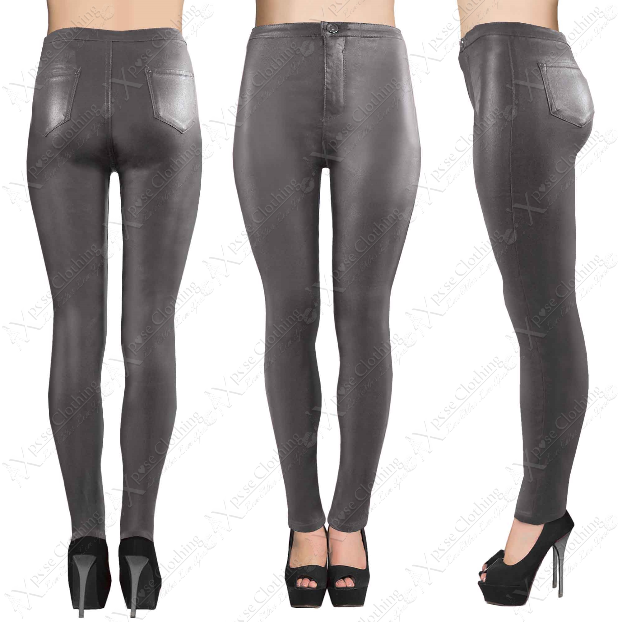 LADIES HIGH WAISTED GREY PU TUBE JEANS LEATHER LOOK SKINNY FIT ...