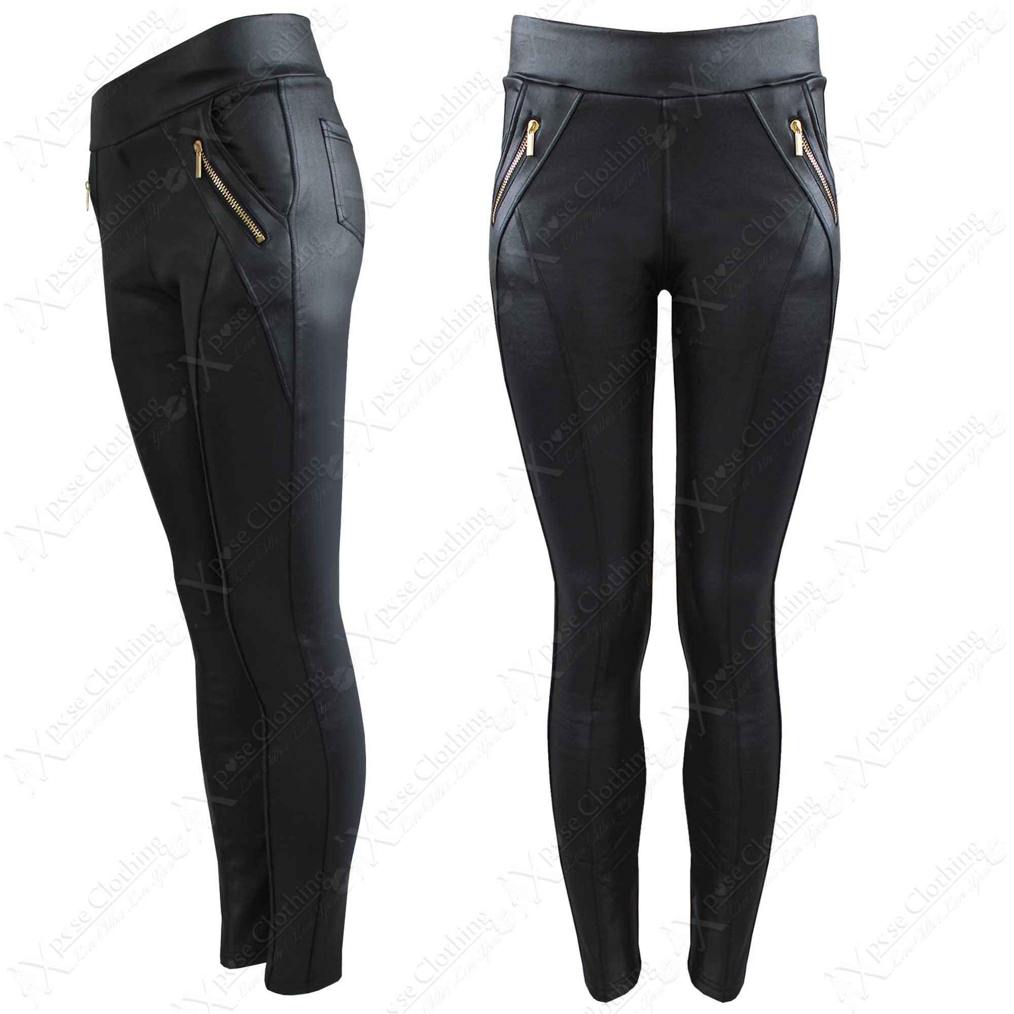 Leather look zip leggings