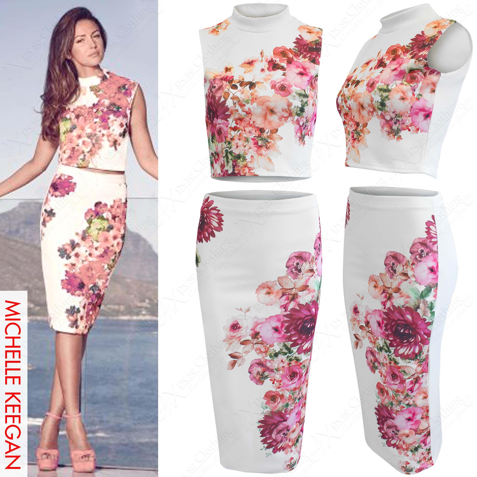 NEW LADIES FLORAL PRINT POLO NECK CROP TOP PENCIL SKIRT SUIT WOMENS CELEB LOOK | eBay