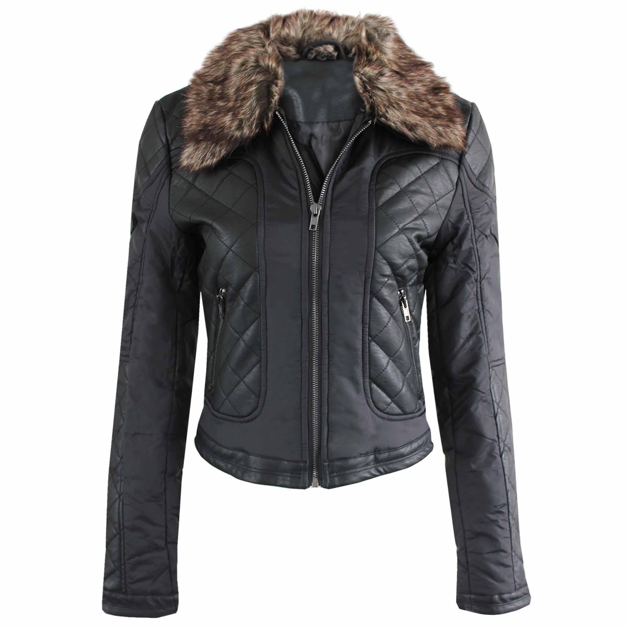 New Ladies Women Quilted Fur Collar Pu Biker Jackets Crop Faux Leather Look Coat Ebay