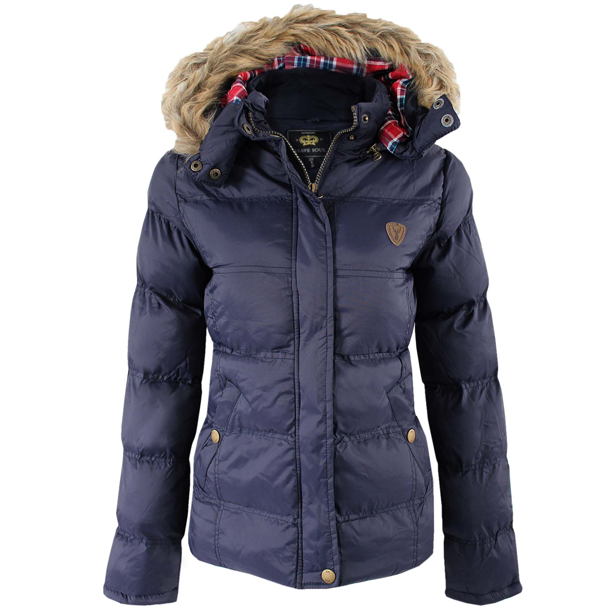 NEW LADIES PADDED PUFFER JACKET WOMEN DETACHABLE HOODED FUR WINTER ...