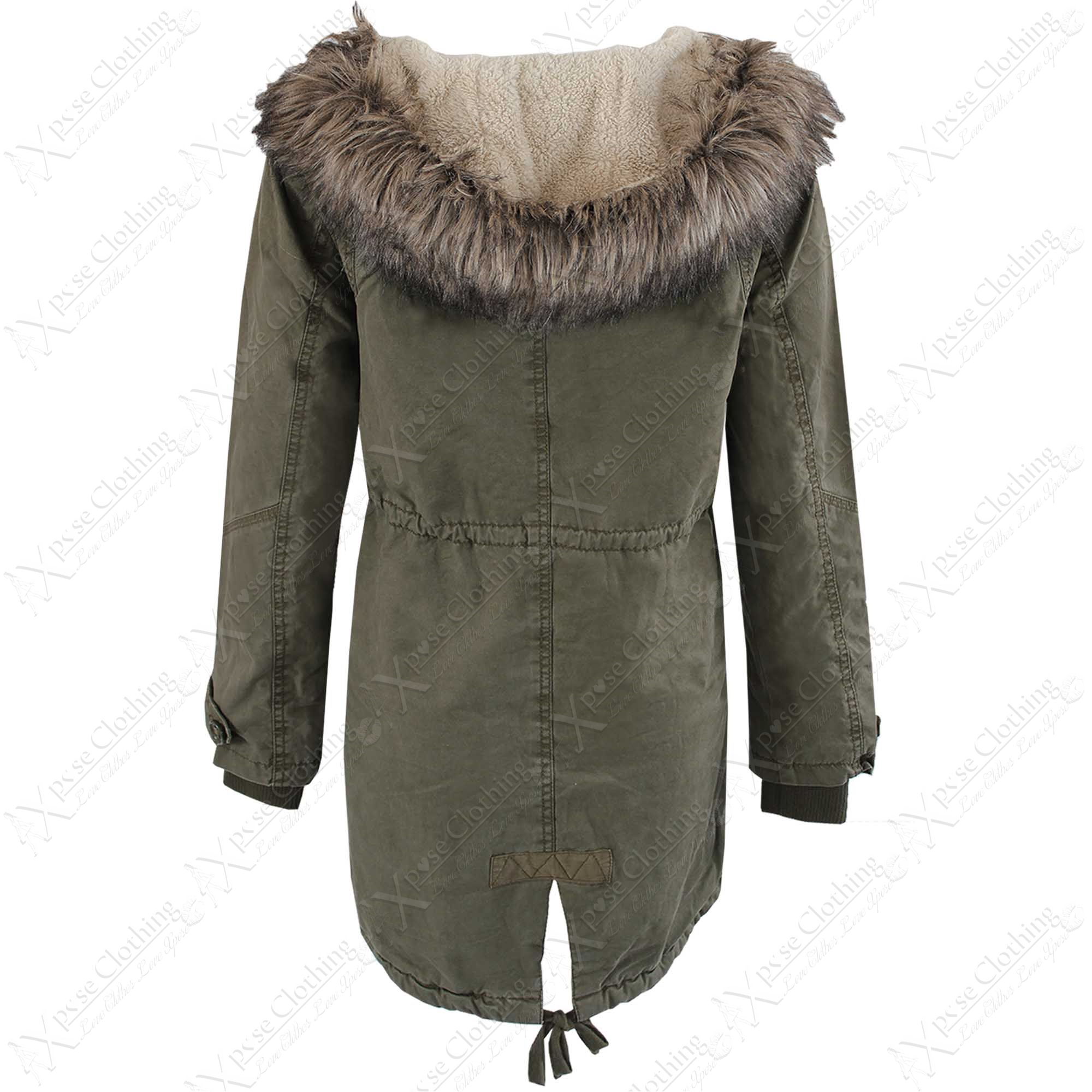 NEW WOMENS FULL BORG LINED PARKA LADIES FUR HOOD JACKET WARM COAT