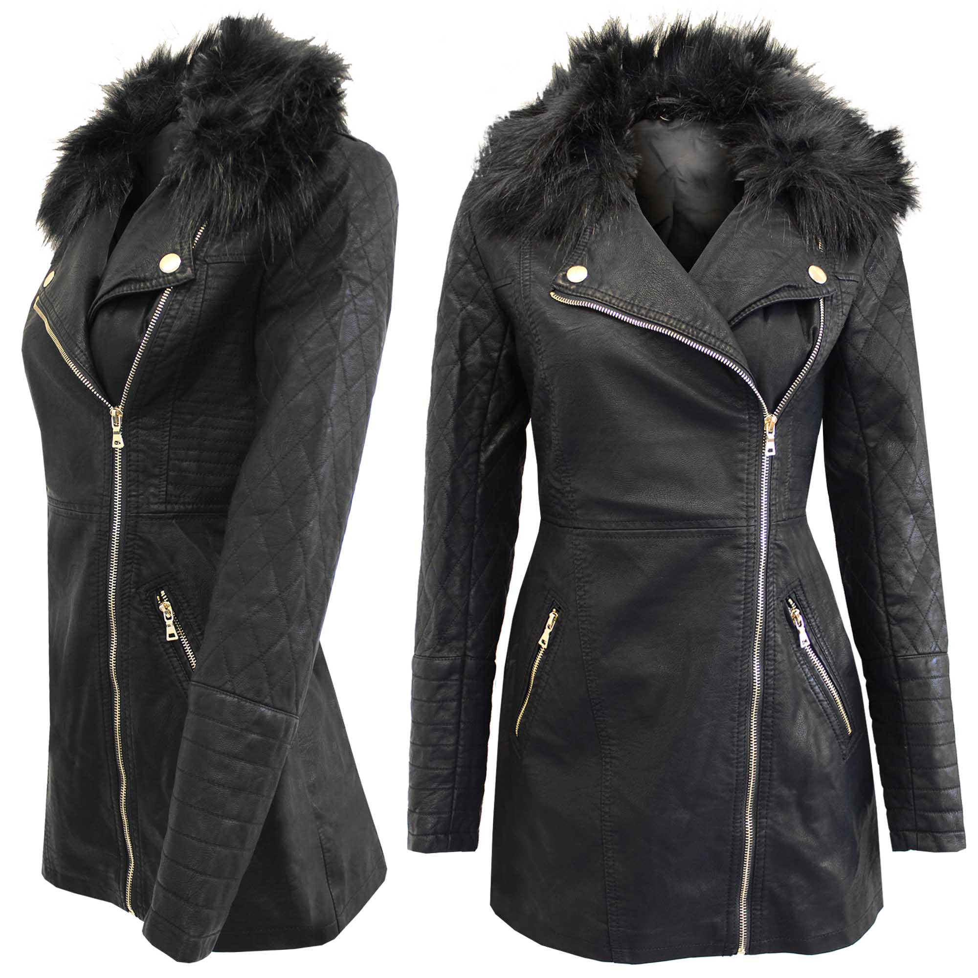 NEW LADIES LONG BIKER COAT BLACK PU WOMEN FUR COLLAR WINTER LOOK ...