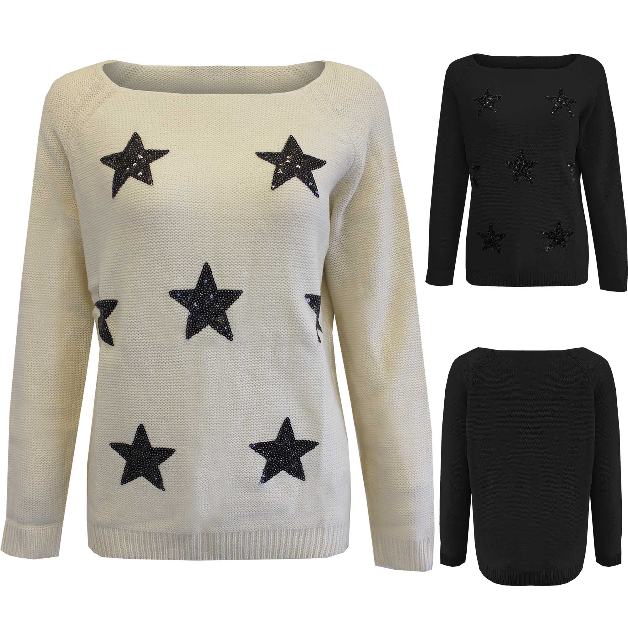 NEW LADIES SEQUIN STAR SLASH NECK JUMPER WOMENS KNITTED LONG ...