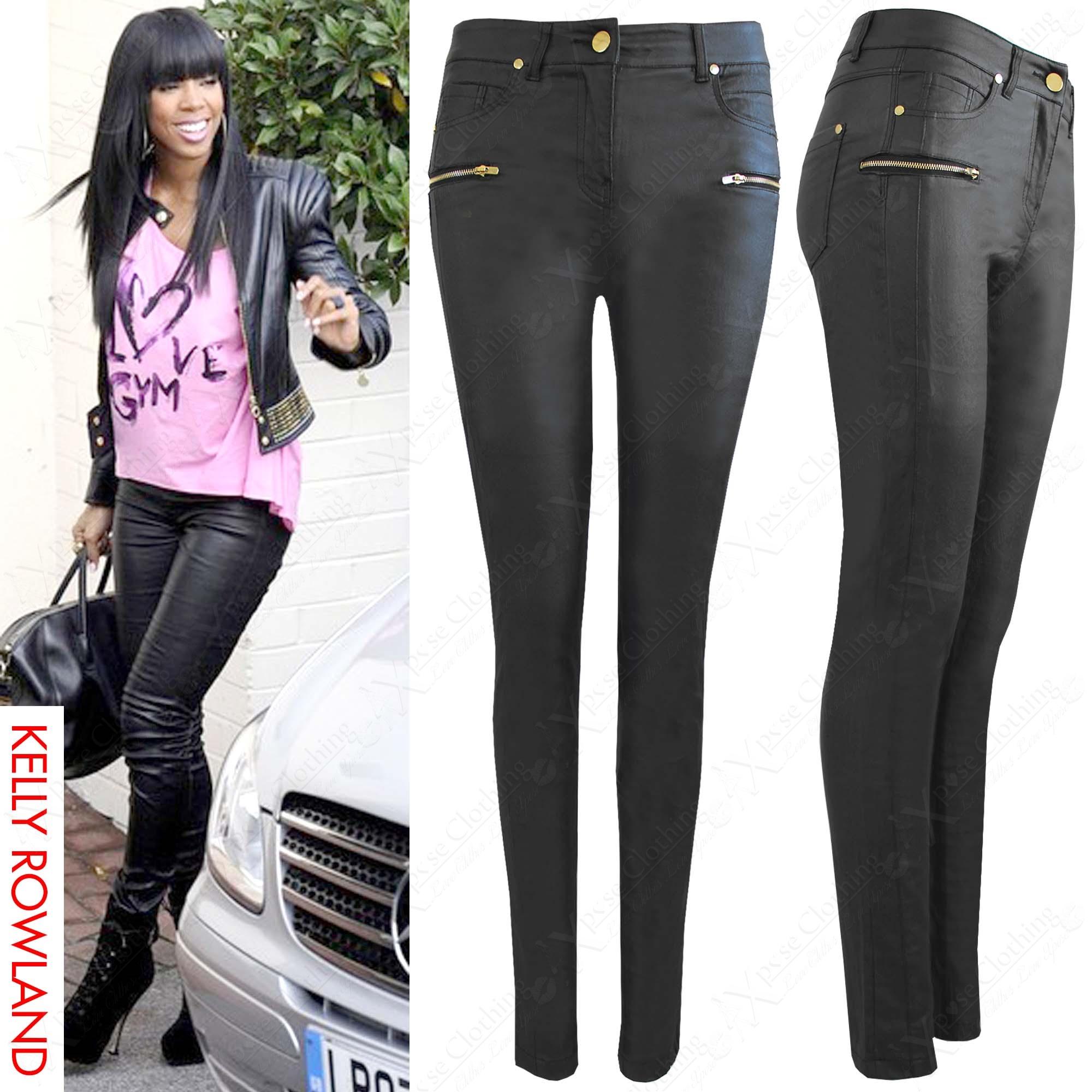 details about neu damen schwarze pu rei verschluss jeans leder lack. Black Bedroom Furniture Sets. Home Design Ideas