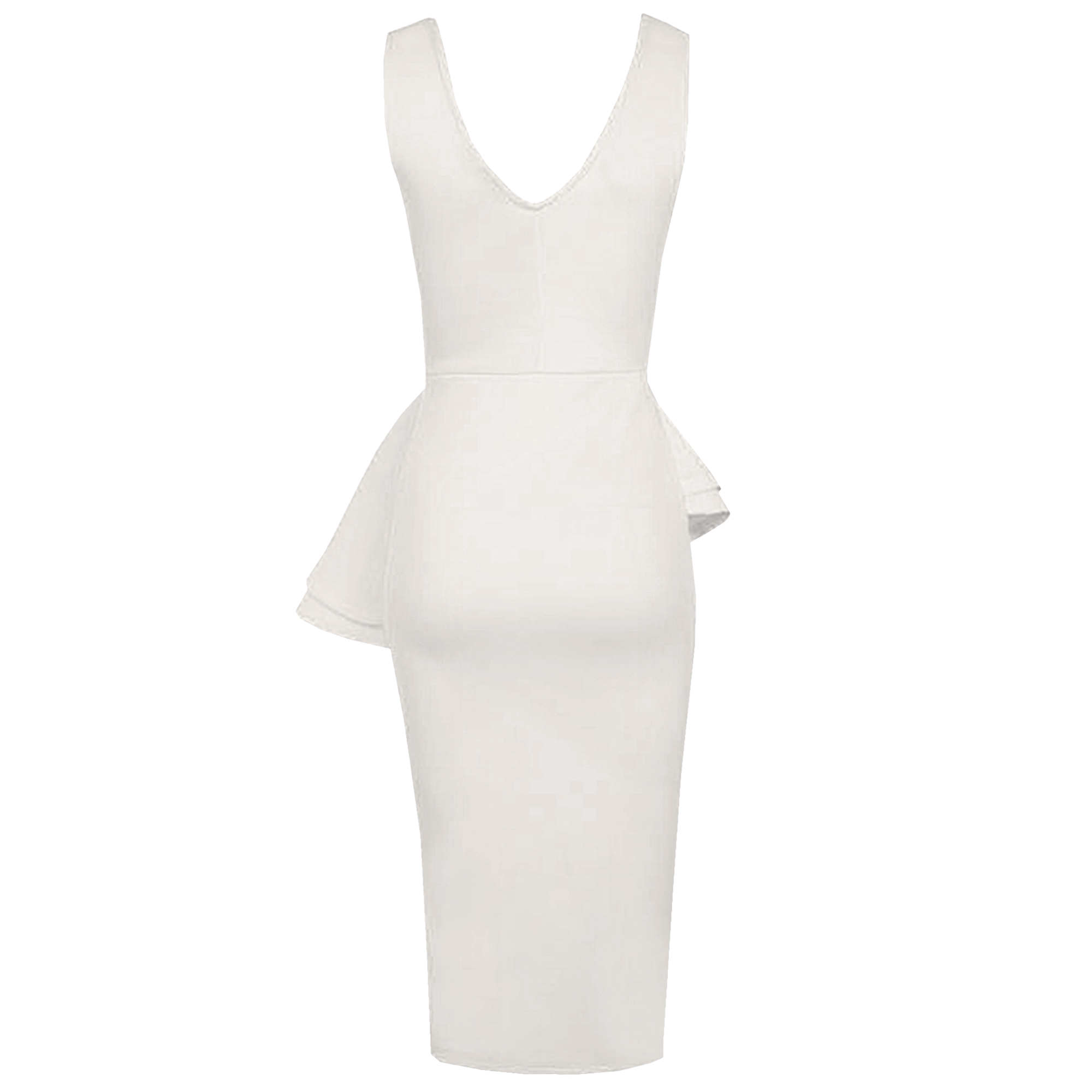 LADIES-SLEEVELESS-SIDE-SLANT-PEPLUM-FRILL-MIDI-DRESS-WOMEN-BODYCON-PENCIL-SKIRT