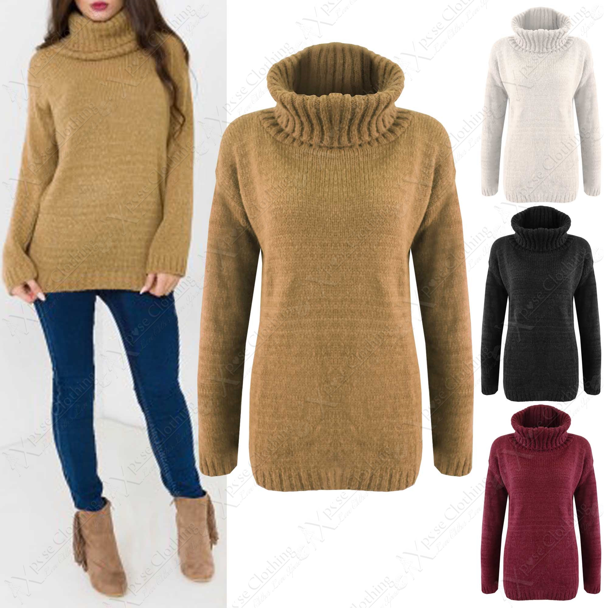 NEW WOMENS COWL POLO NECK FLUFFY CHUNKY KNIT JUMPER LADIES THICK ...