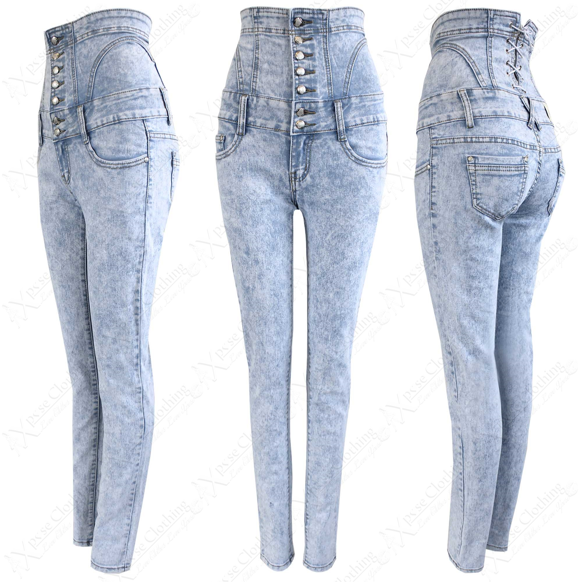 WOMENS LADIES HIGH WAISTED CORSET SKINNY DENIM ACID BLUE WASH ...