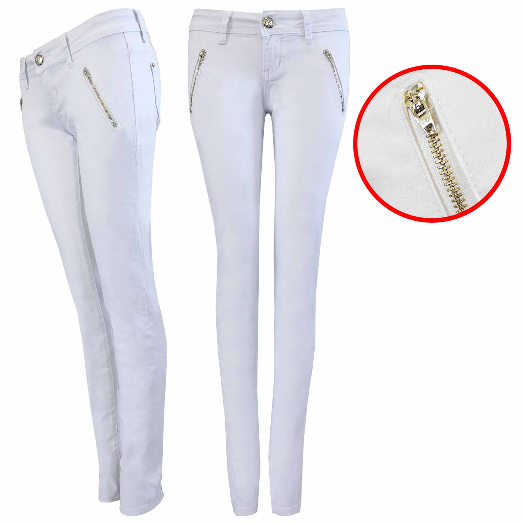 NEW WOMEN LADIES WHITE JEANS ZIP FRONT SKINNY LEG STRETCH DENIM ...