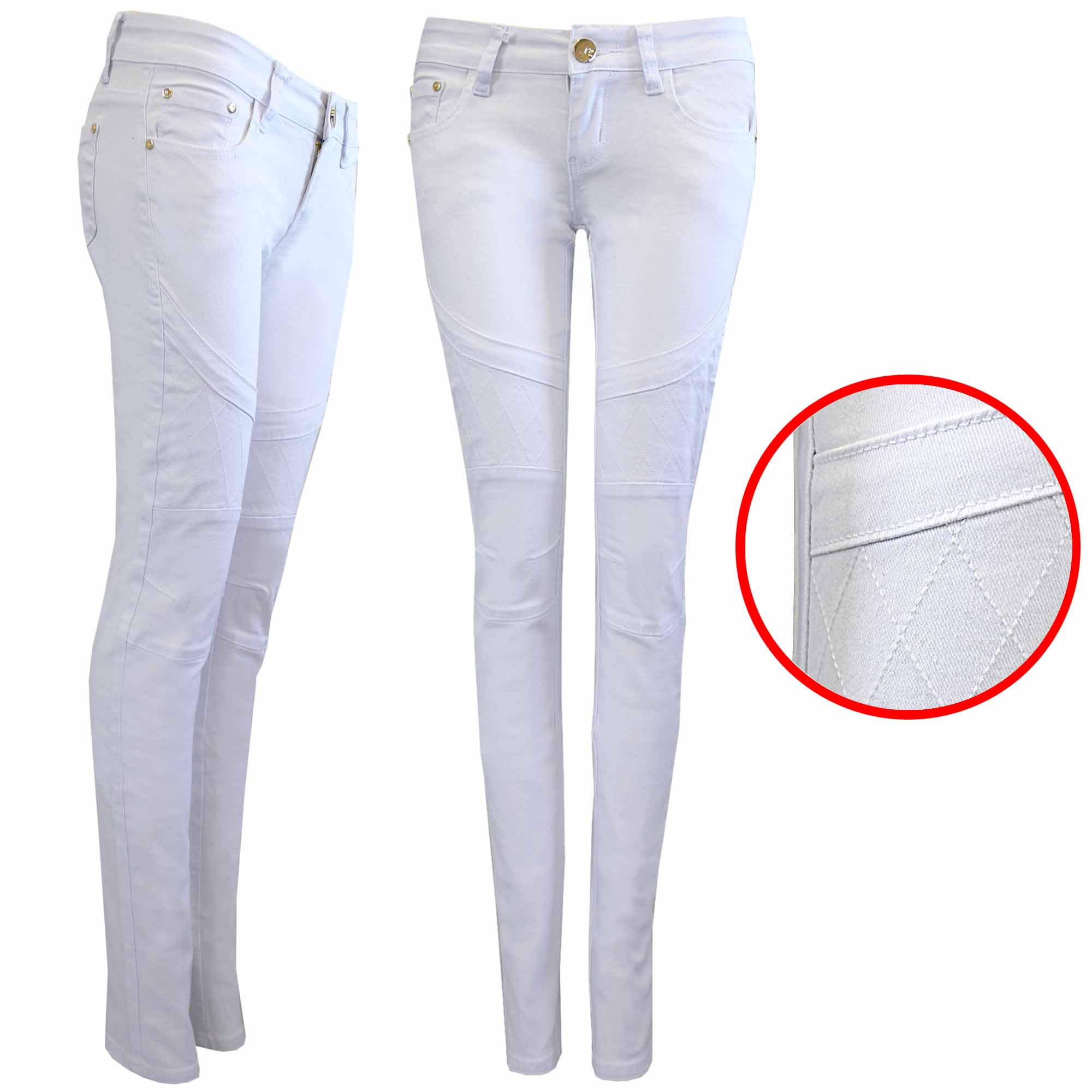NEW WOMEN LADIES WHITE BIKER LOOK JEANS SKINNY LEG STRETCH DENIM ...