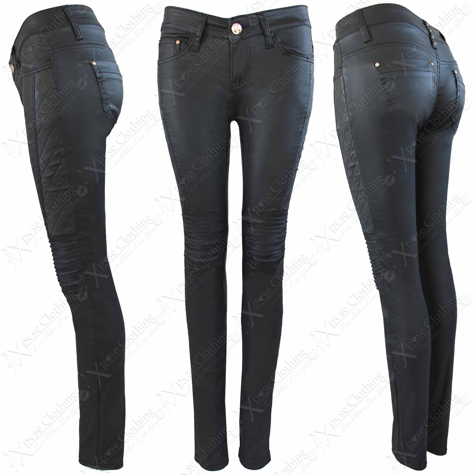 NEW LADIES BLACK PU BIKER JEANS LEATHER QUILTED LOOK SKINNY
