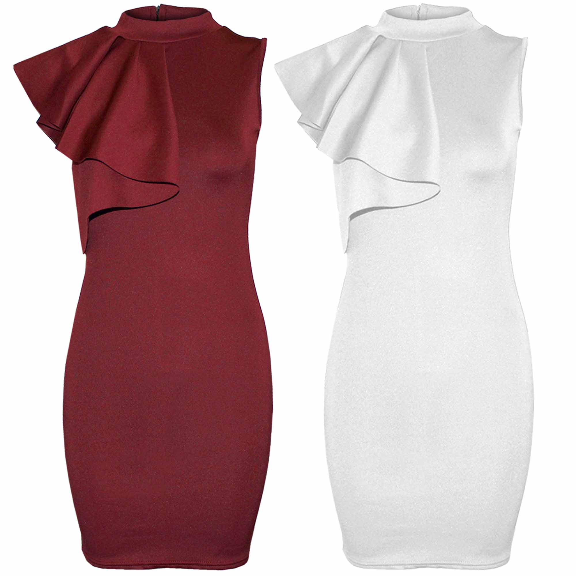 WOMEN LADIES SHOULDER FRILL BODYCON DRESS SLEEVELESS ZIP TOP PENCIL SKIRT POLO | eBay
