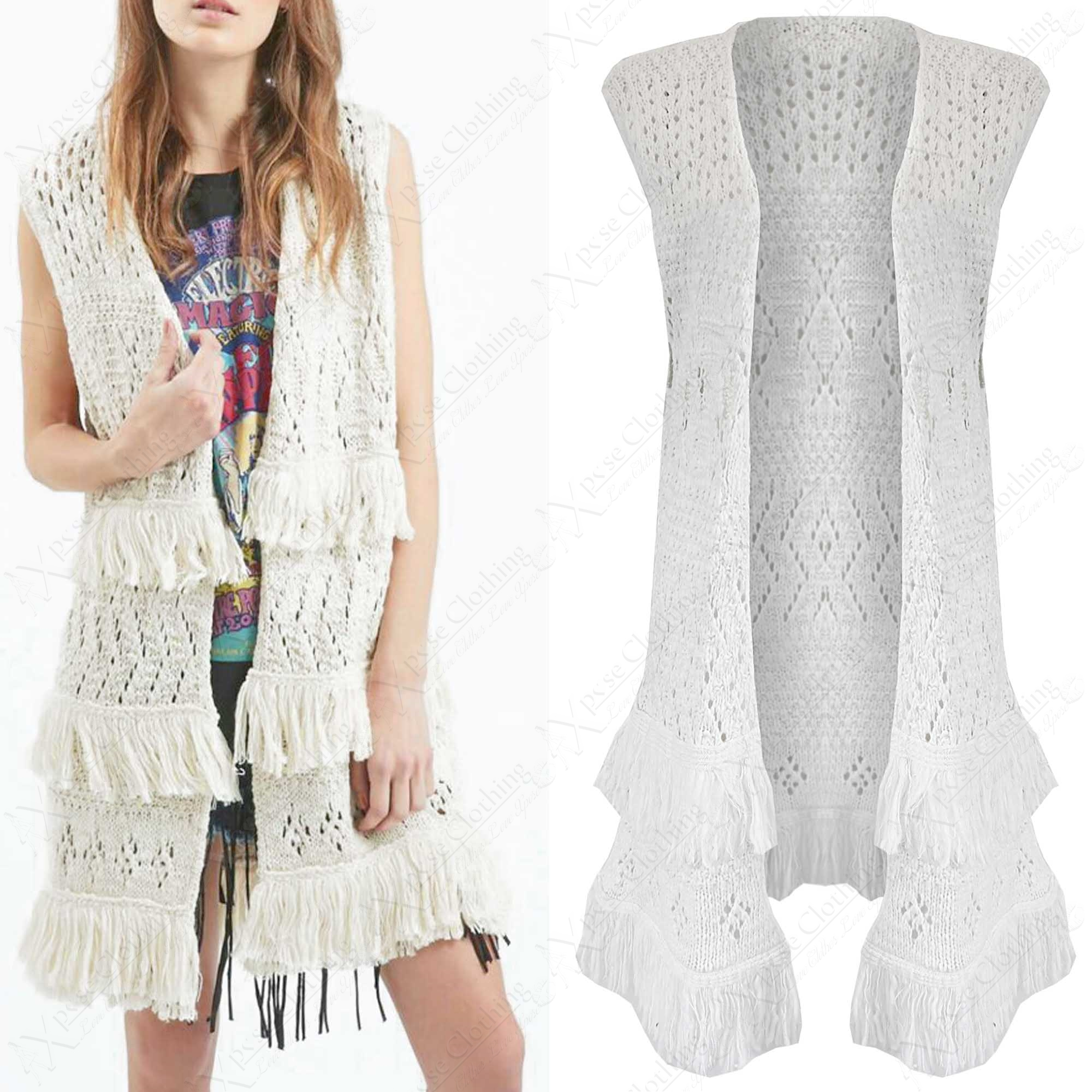 NEW LADIES KNIT TASSEL FRINGE CROCHET WAISTCOAT WOMEN LONG SLEEVELESS CARDI L...