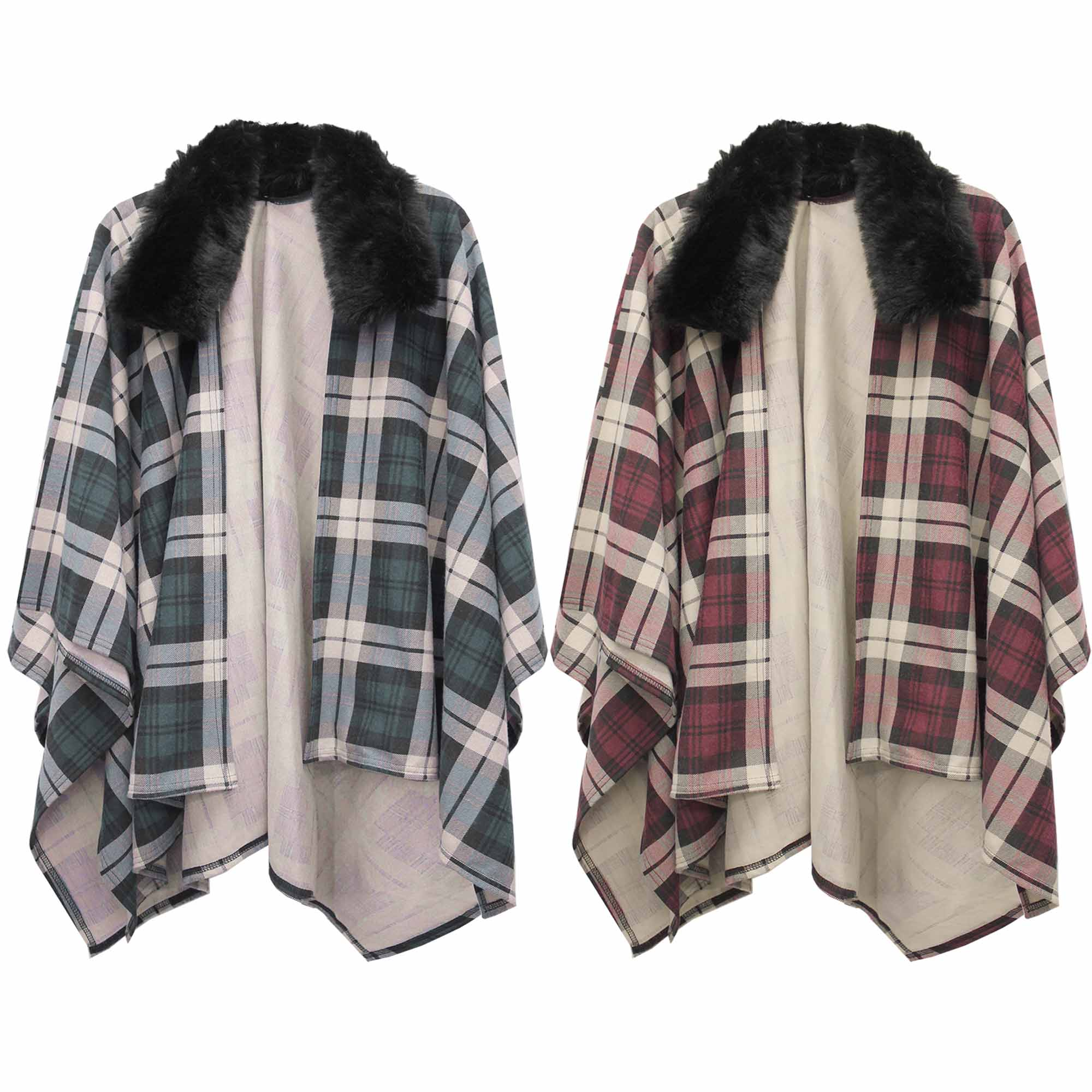 LADIES TARTAN CHECK BLACK FUR COLLAR CAPE WOMENS THICK BLANKET WRAP PONCHO COAT