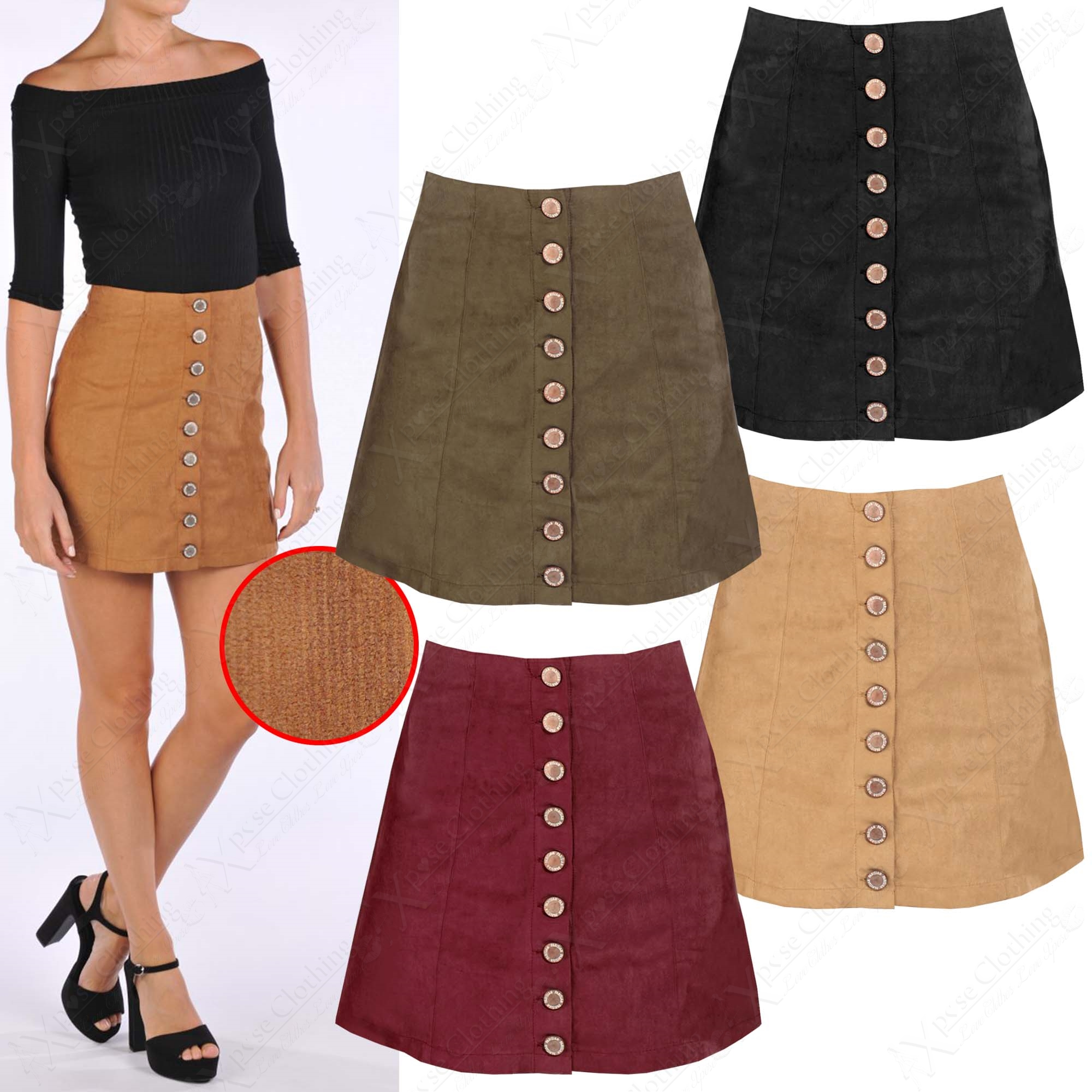 NEW WOMENS RIB CORD A LINE MINI SKIRT BUTTON FRONT FAUX SUEDE LOOK ...