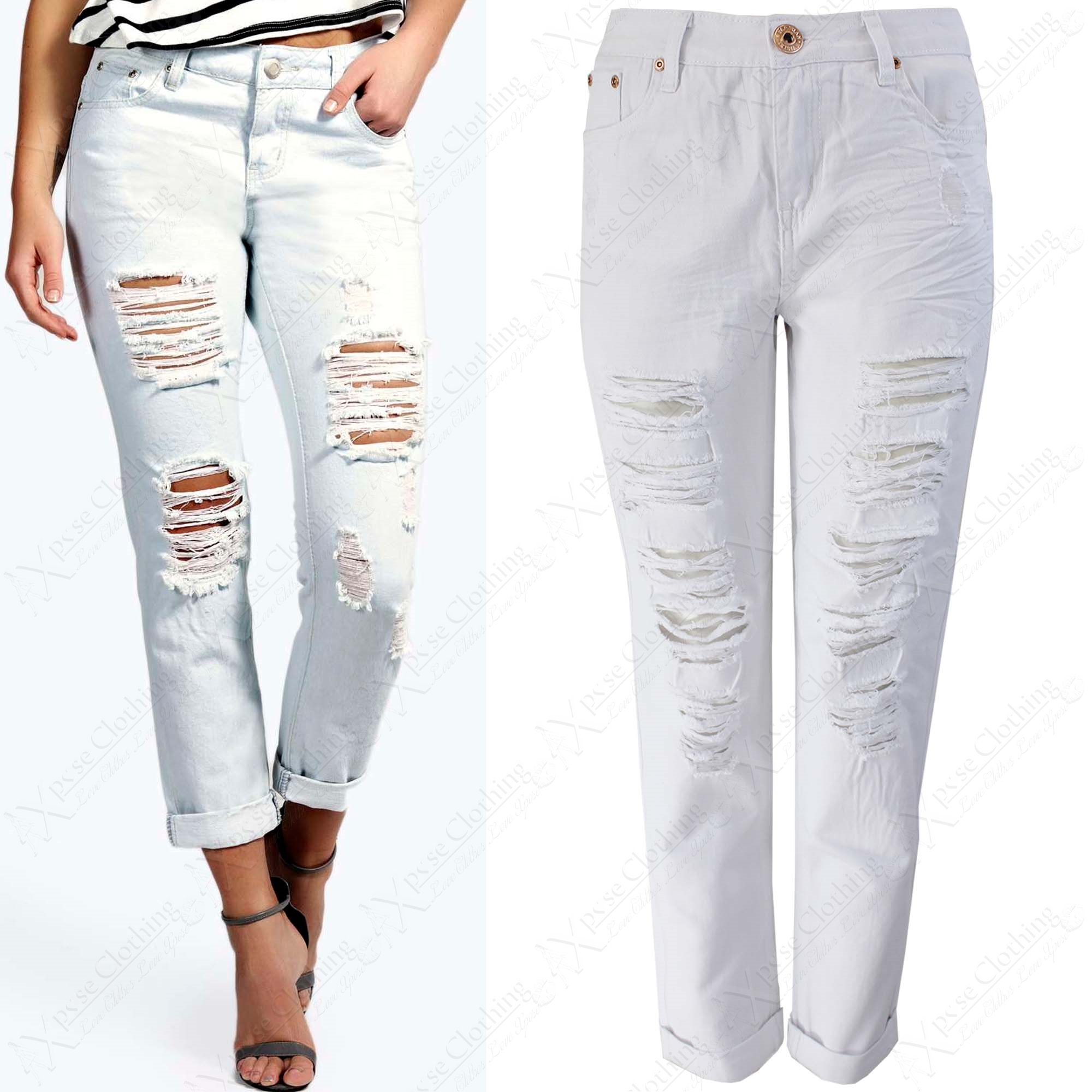 NEW WOMEN LADIES RIPPED CUT BOYFRIEND JEANS WHITE STRETCH DENIM ...