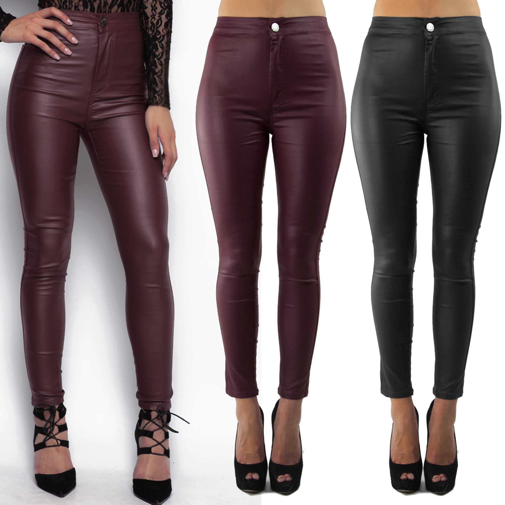 High waisted leather look skinny jeans