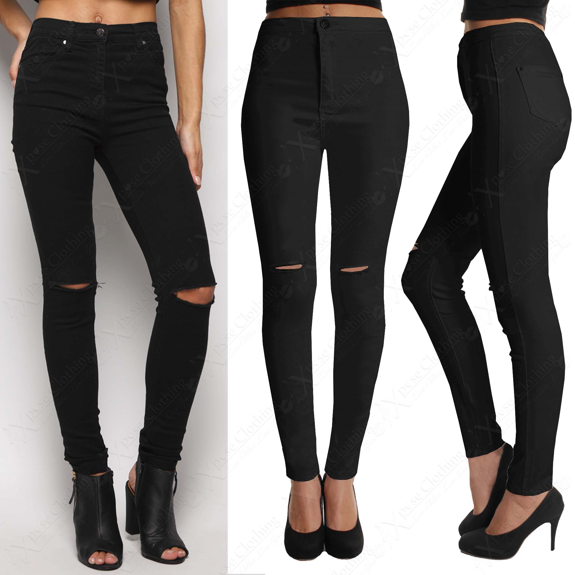Black skinny ripped jeans womens – Global fashion jeans collection