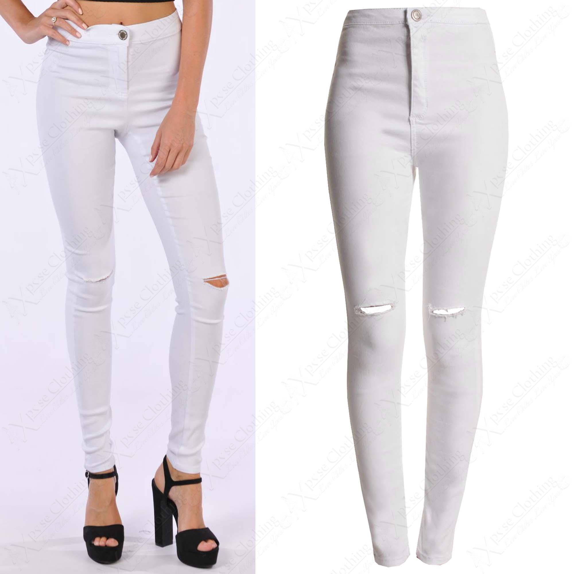 NEW WOMENS RIPPED KNEE WHITE SKINNY JEANS LADIES HIGH WAIST CUT