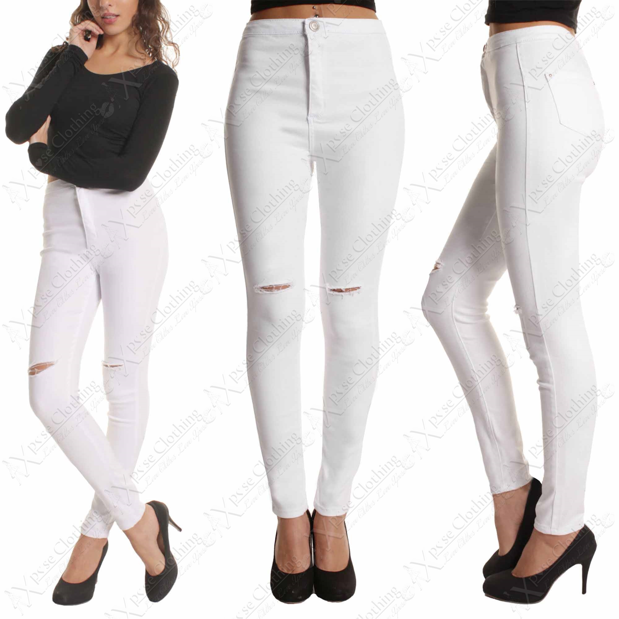 NEW LADIES RIPPED KNEE SKINNY JEANS WOMENS HIGH WAISTED RIP CUT