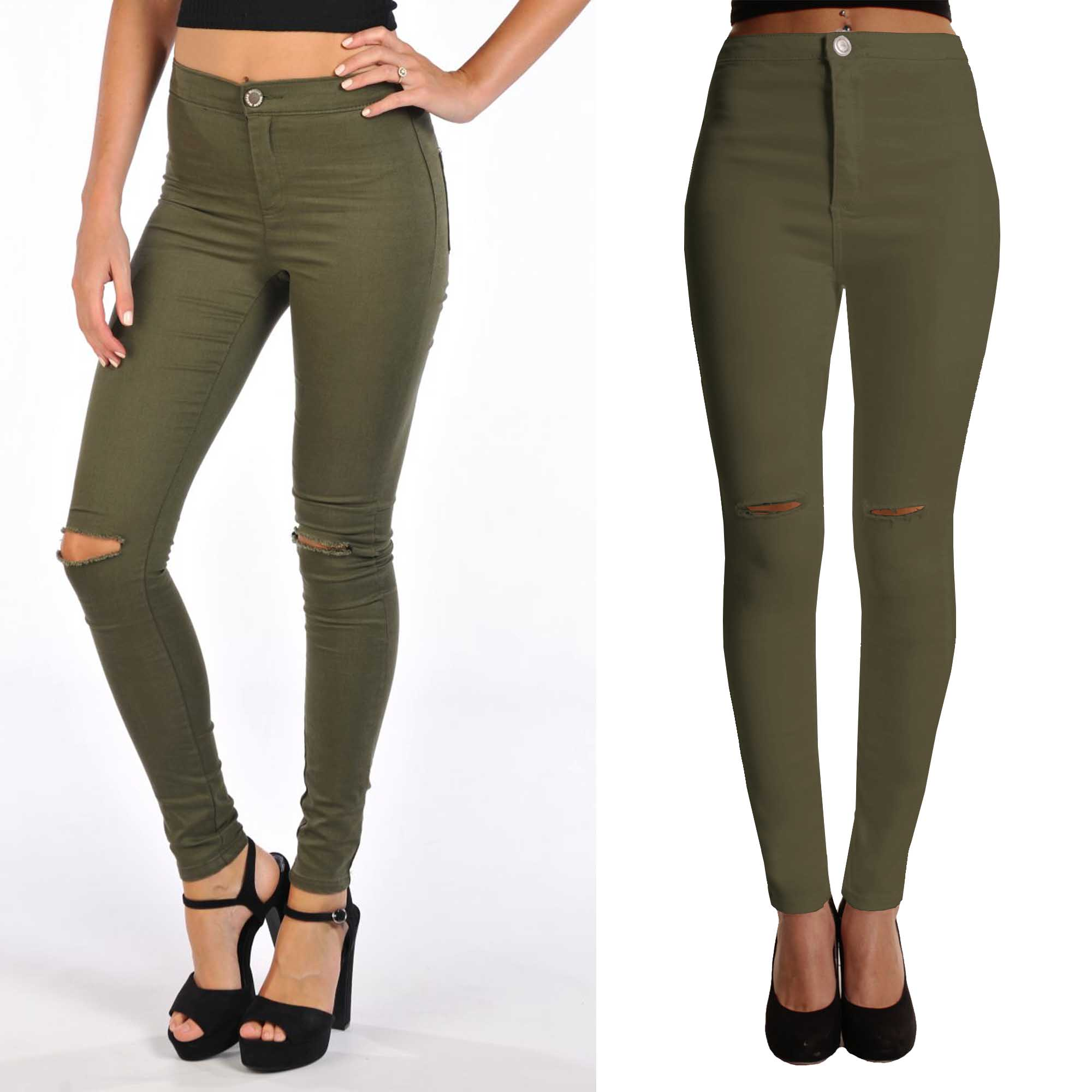 WOMEN KHAKI RIPPED KNEE COLOUR SKINNY JEANS LADIES HIGH WAISTED ...
