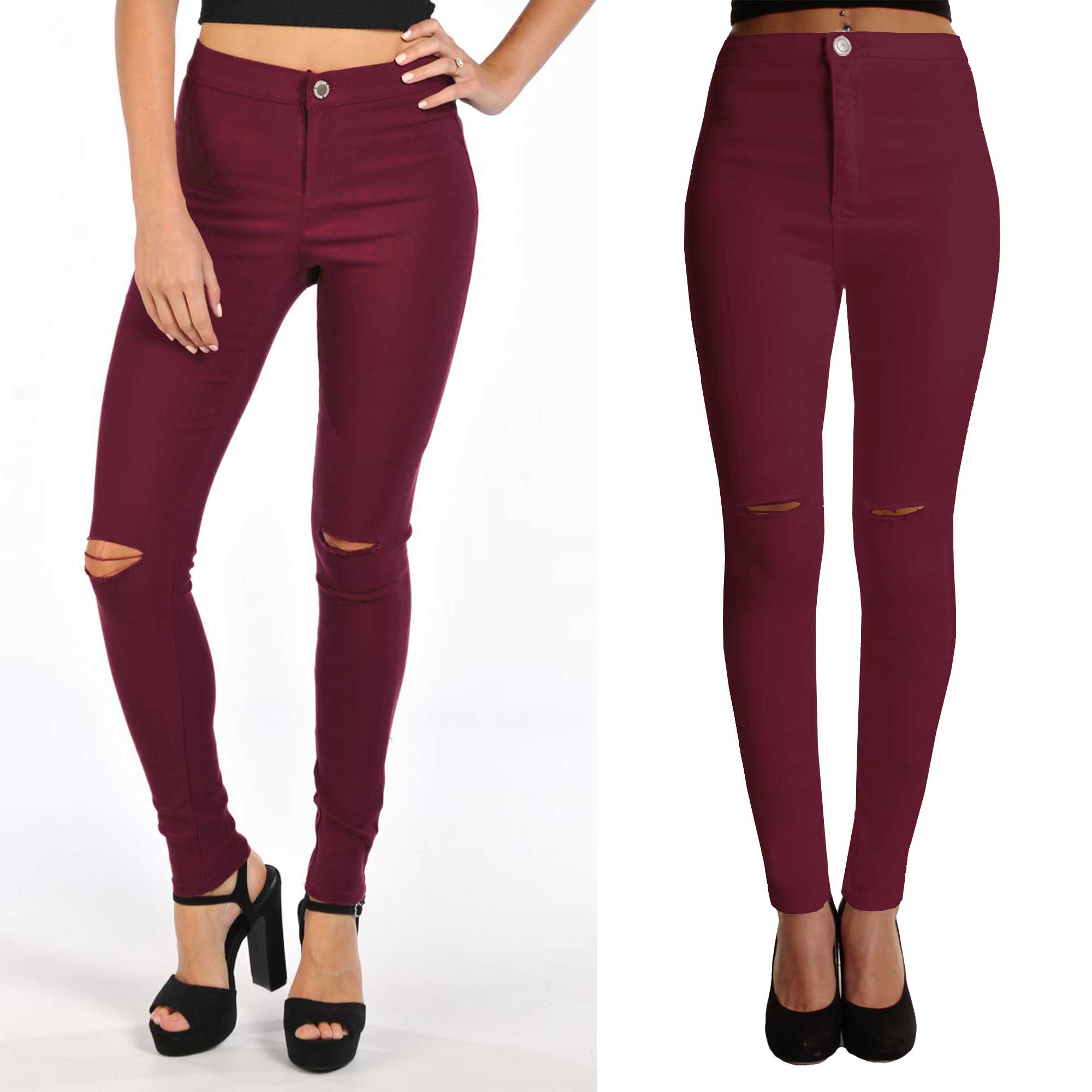 WOMEN WINE RIP KNEE COLOUR SKINNY JEANS CUT LADIES HIGH WAISTED ...