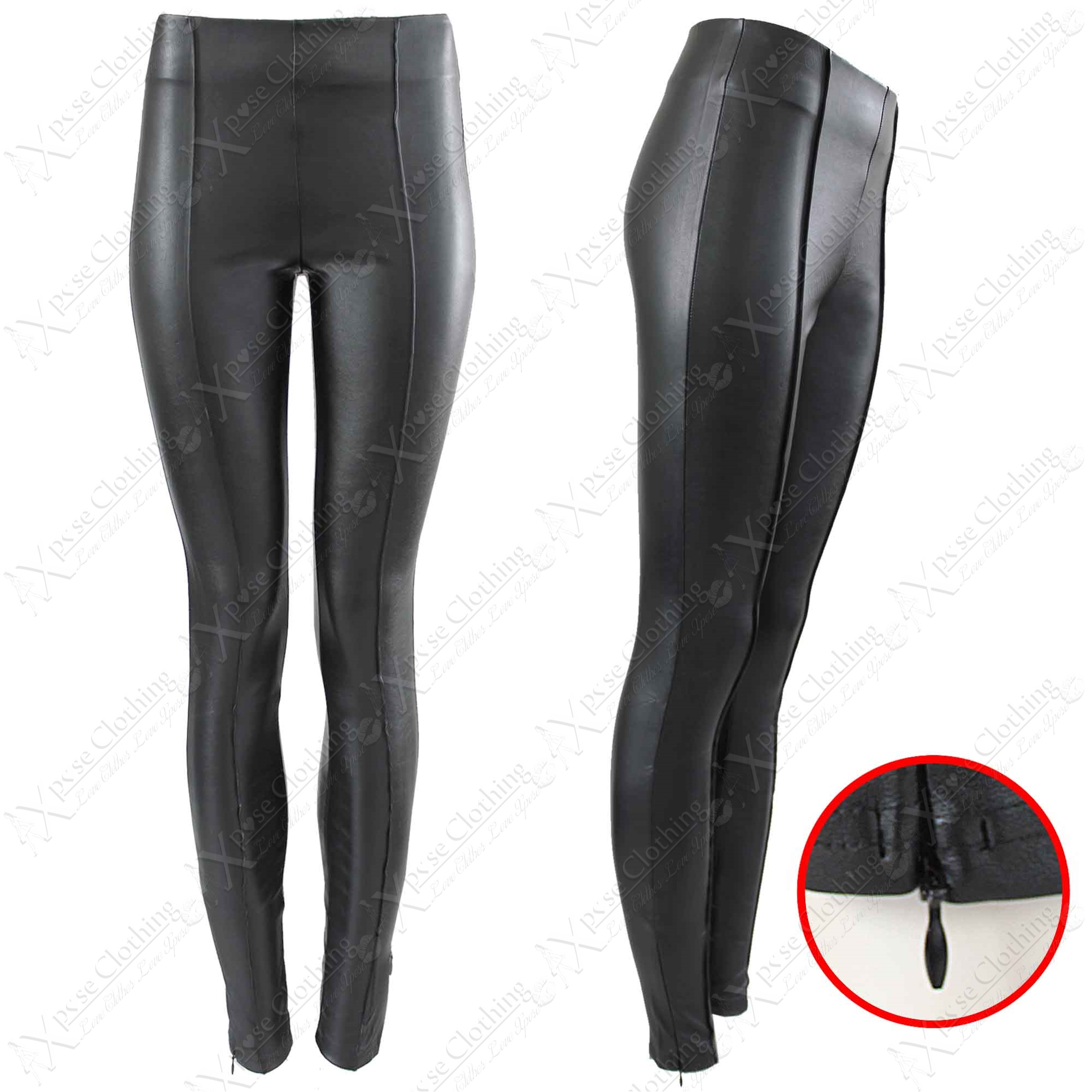 NEW WOMENS LADIES HIGH WAISTED BLACK PU LEGGINGS LEATHER LOOK ...