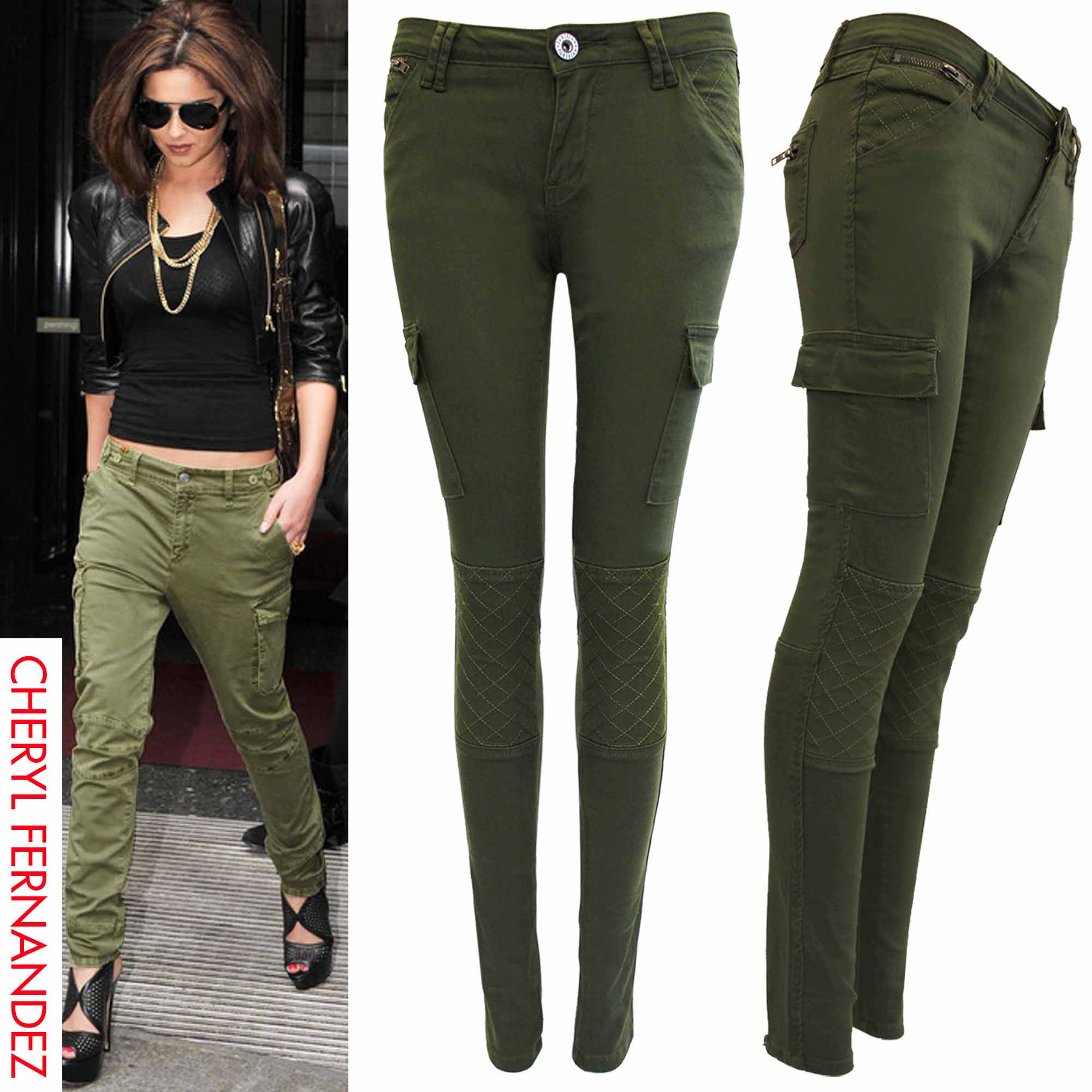 Beautiful Womens Khaki Green Lightweight Combat Trousers Cargo Jeans Loose Wide