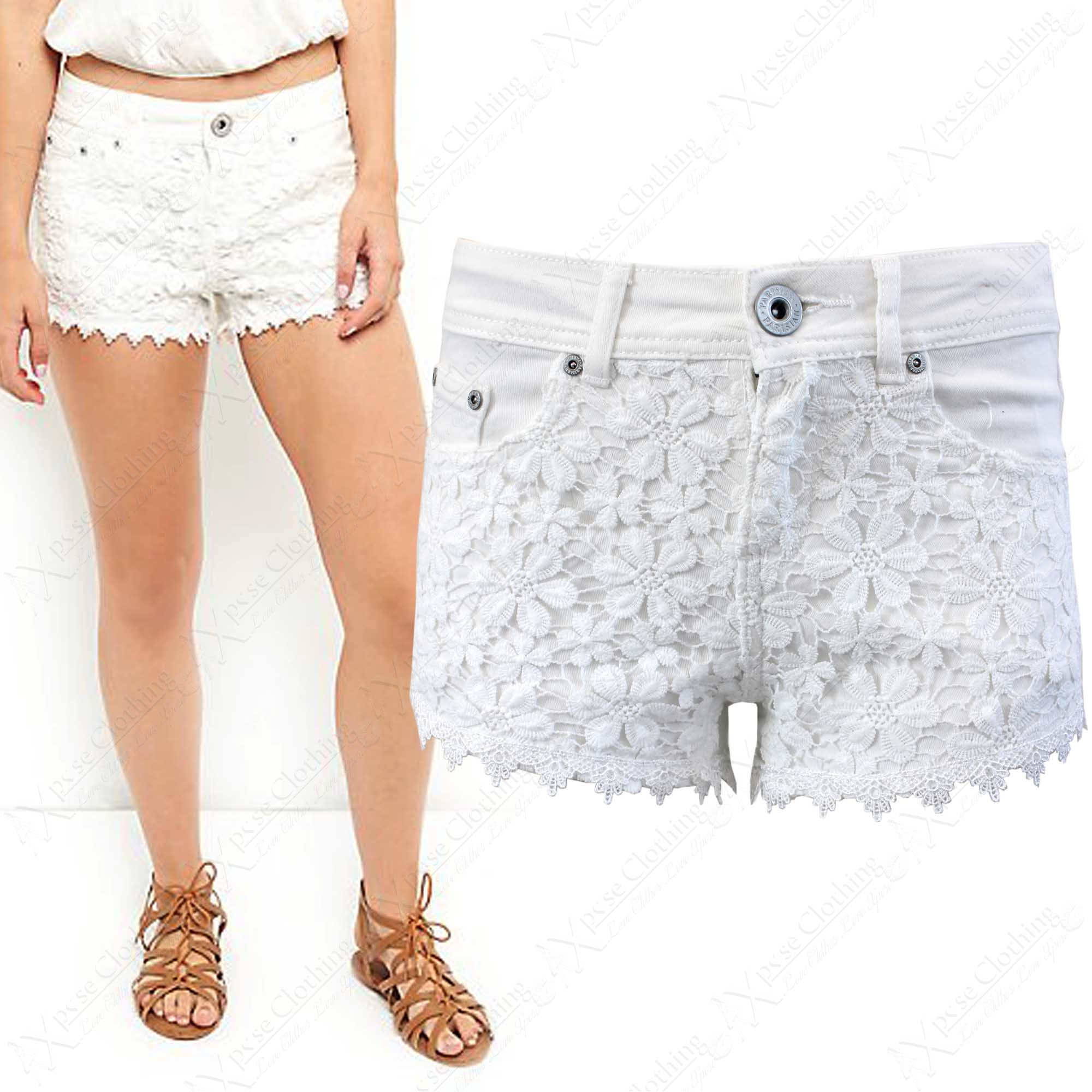 NEW WOMENS WHITE DENIM DAISY FLORAL LACE HOT PANTS LADIES STRETCH ...