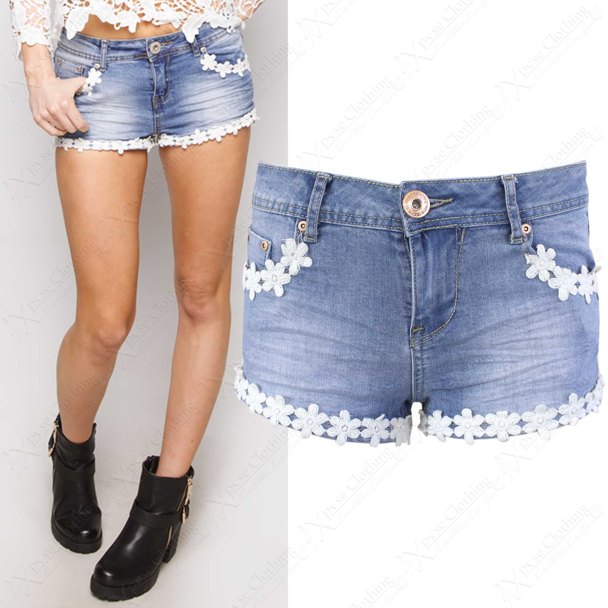 NEW WOMEN BLUE WASH DENIM DAISY FLORAL LACE HOT PANTS LADIES ...