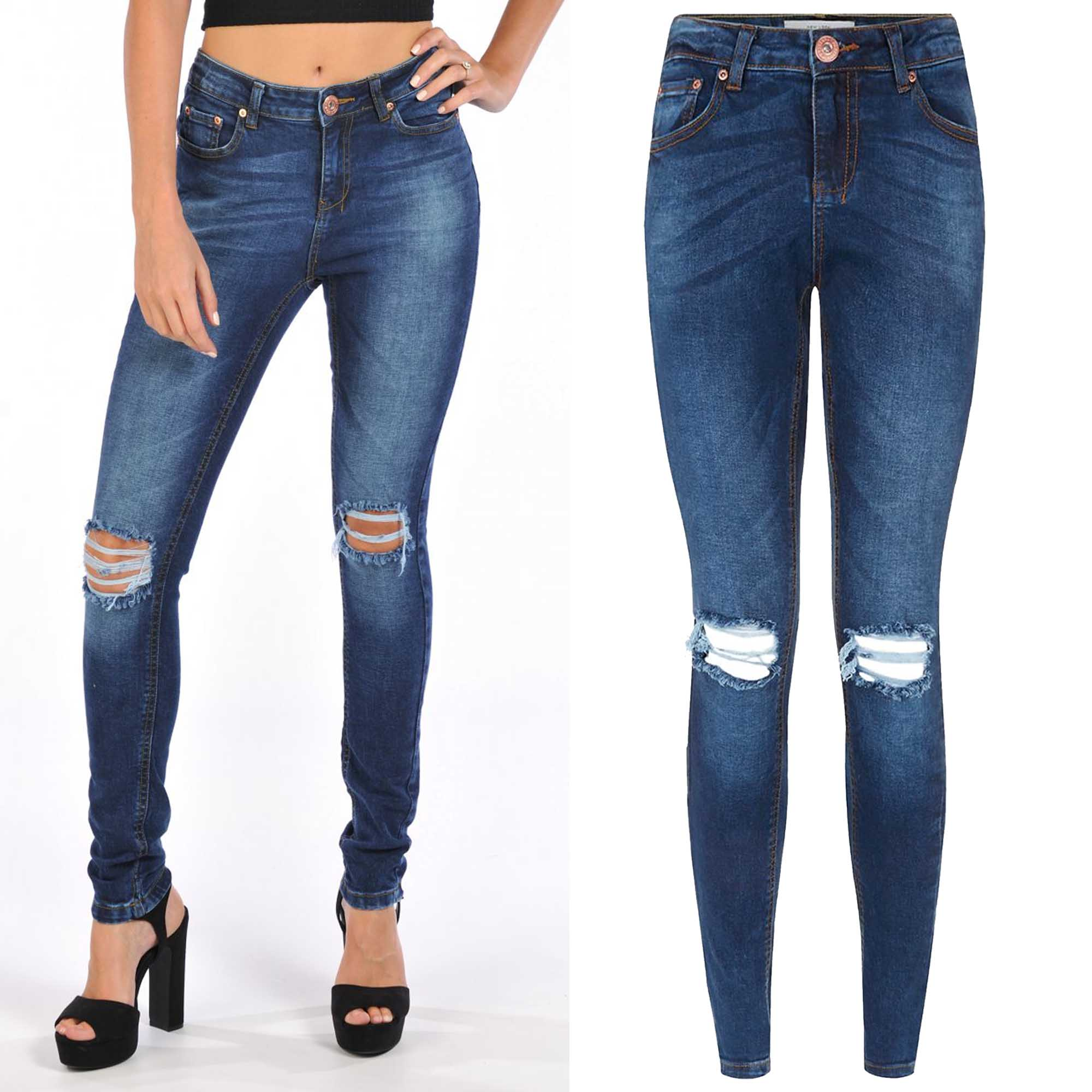 NEW LADIES RIPPED SKINNY JEANS WOMEN DISTRESSED BLUE DENIM STRETCH FIT RIP PANTS | eBay