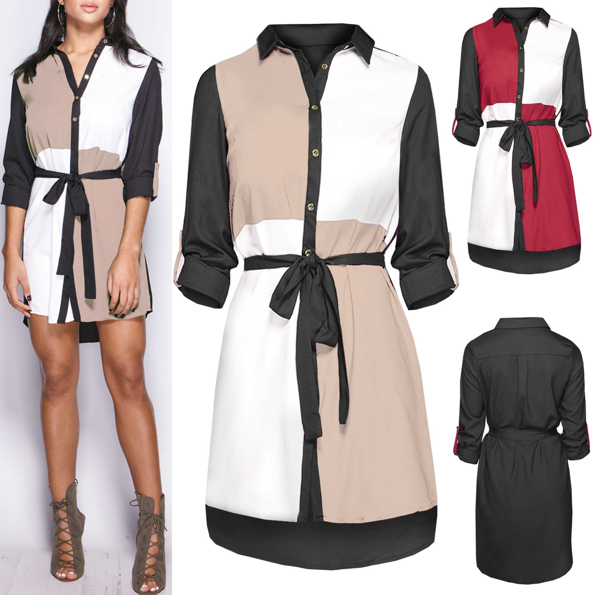 NEW LADIES MULTI COLOUR BLOCK SHIRT DRESS WOMENS LONG SLEEVED ...
