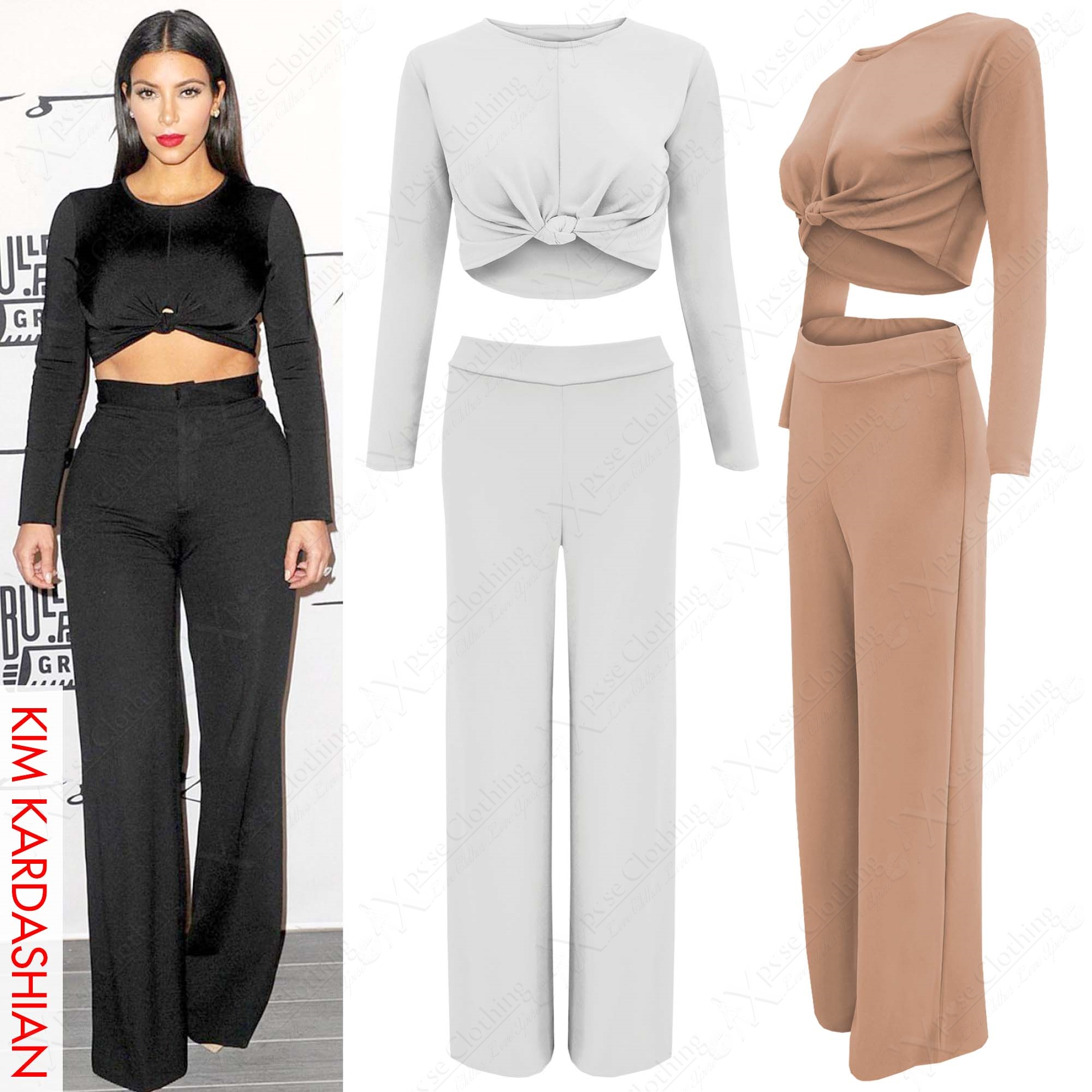 LADIES LONG SLEEVE KNOT CROP TOP PALAZZO TROUSERS SUIT WOMENS 2 ...