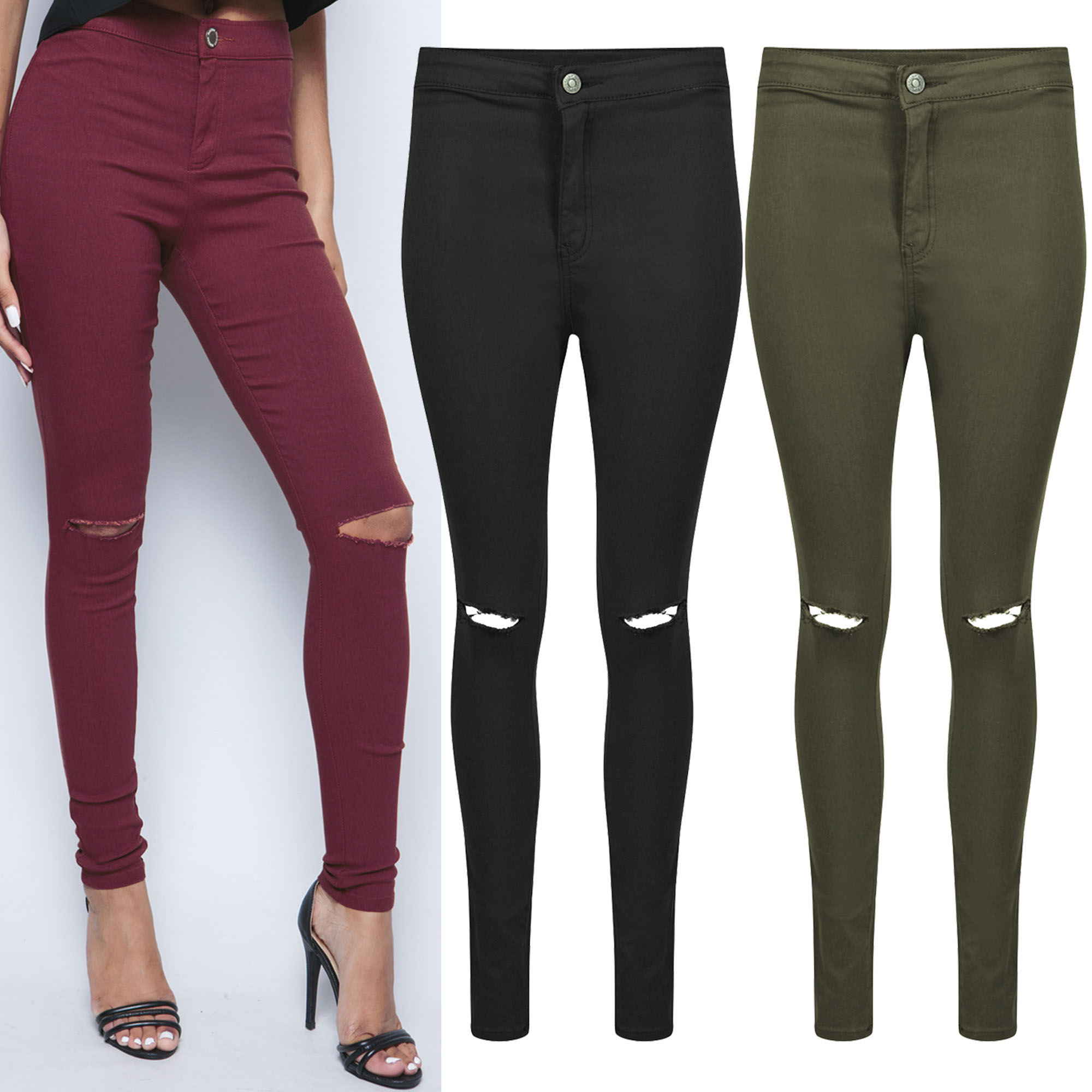 NEW WOMENS RIPPED KNEE COLOUR SKINNY JEANS LADIES HIGH WAISTED CUT ...