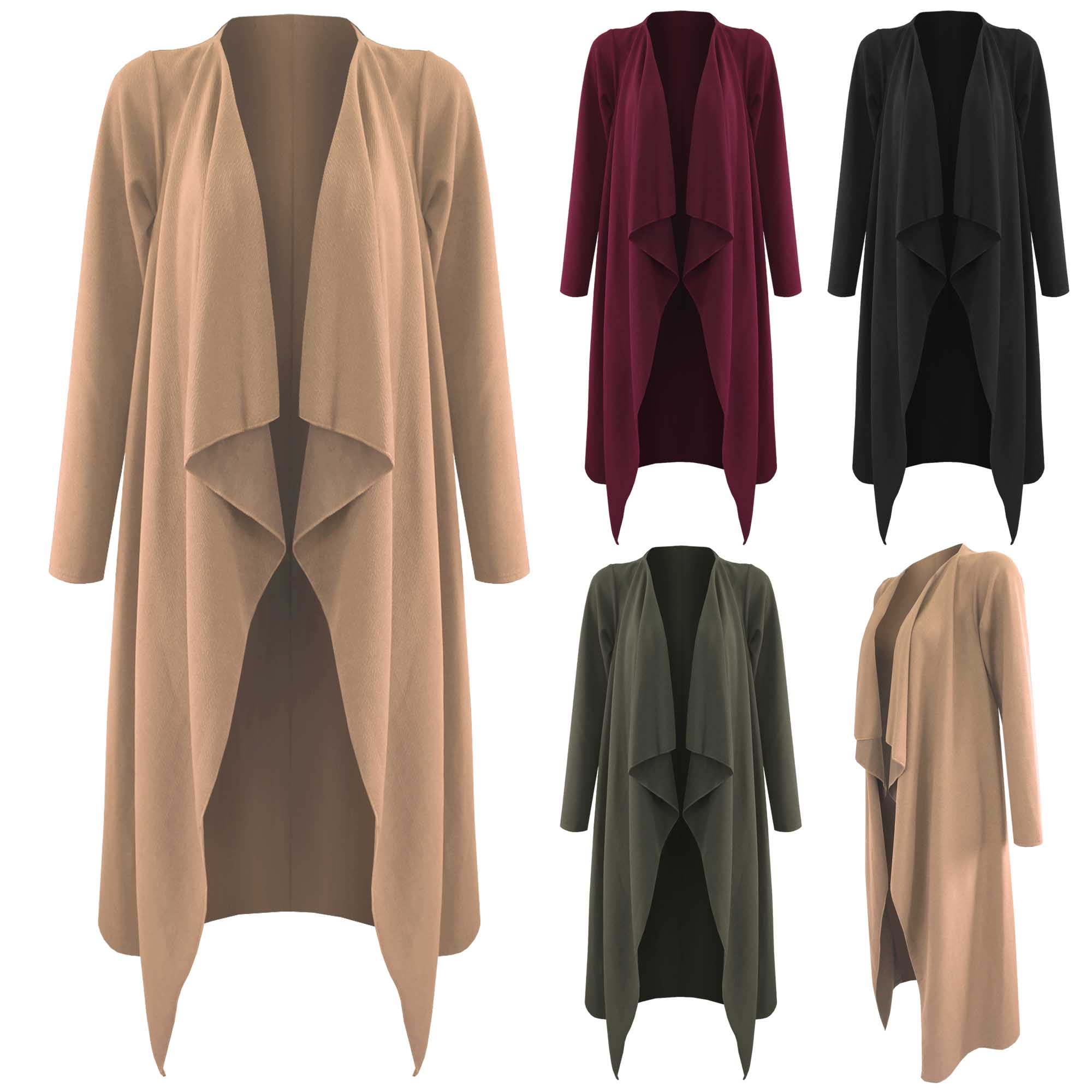 NEW LADIES OPEN WATERFALL JACKET WOMENS LONG LENGTH SLEEVED COAT ...