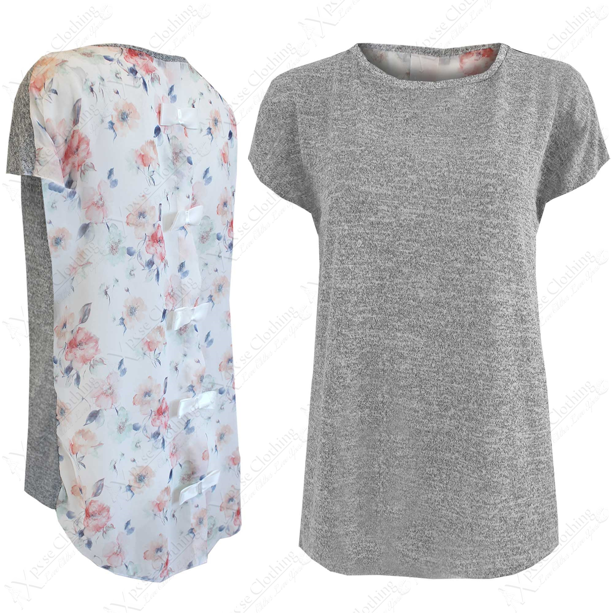 New ladies floral chiffon bow back tops women grey marl for Grey marl t shirt