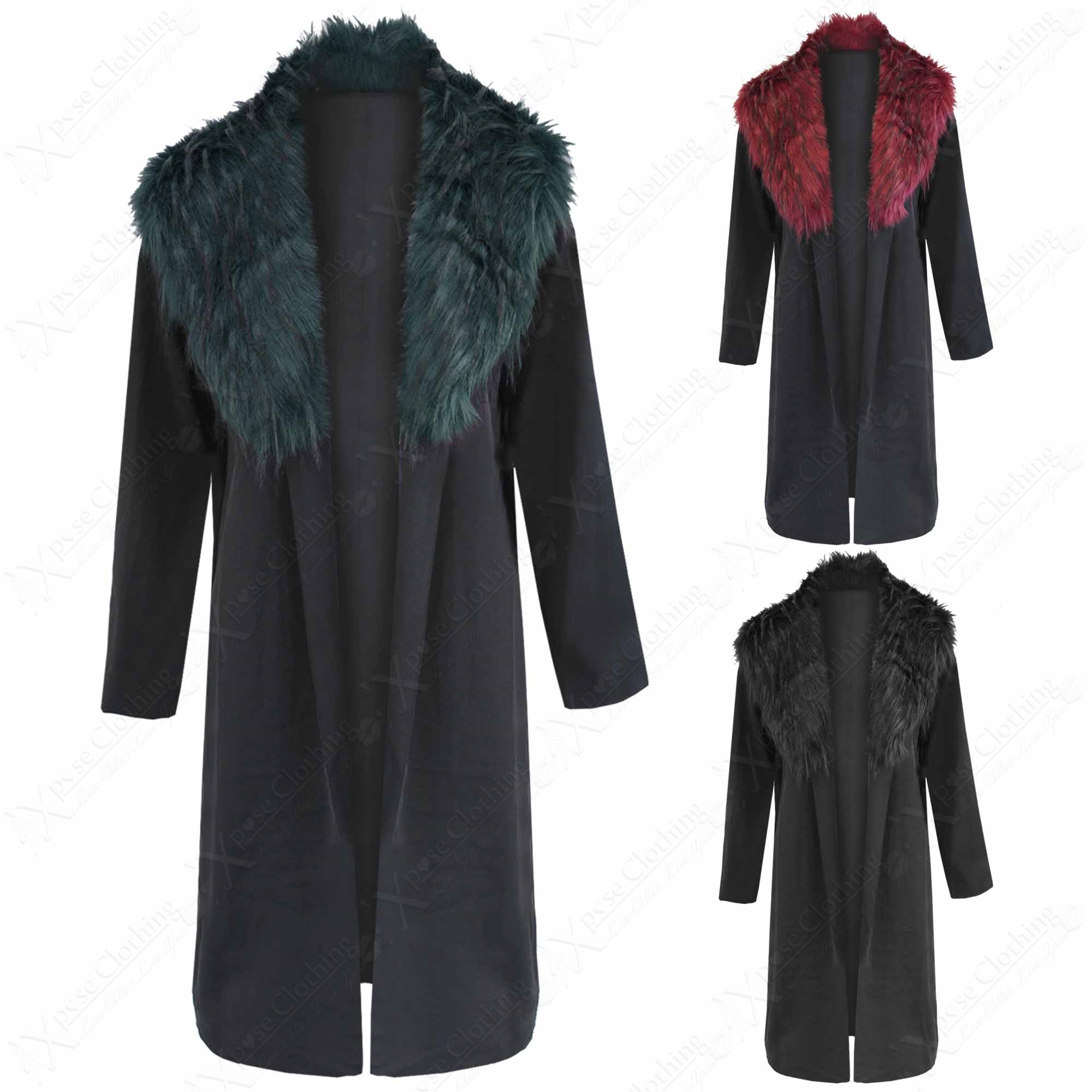 NEW LADIES BLACK COAT FAUX FUR COLLAR LOOK WOMEN CELEB DUSTER ...