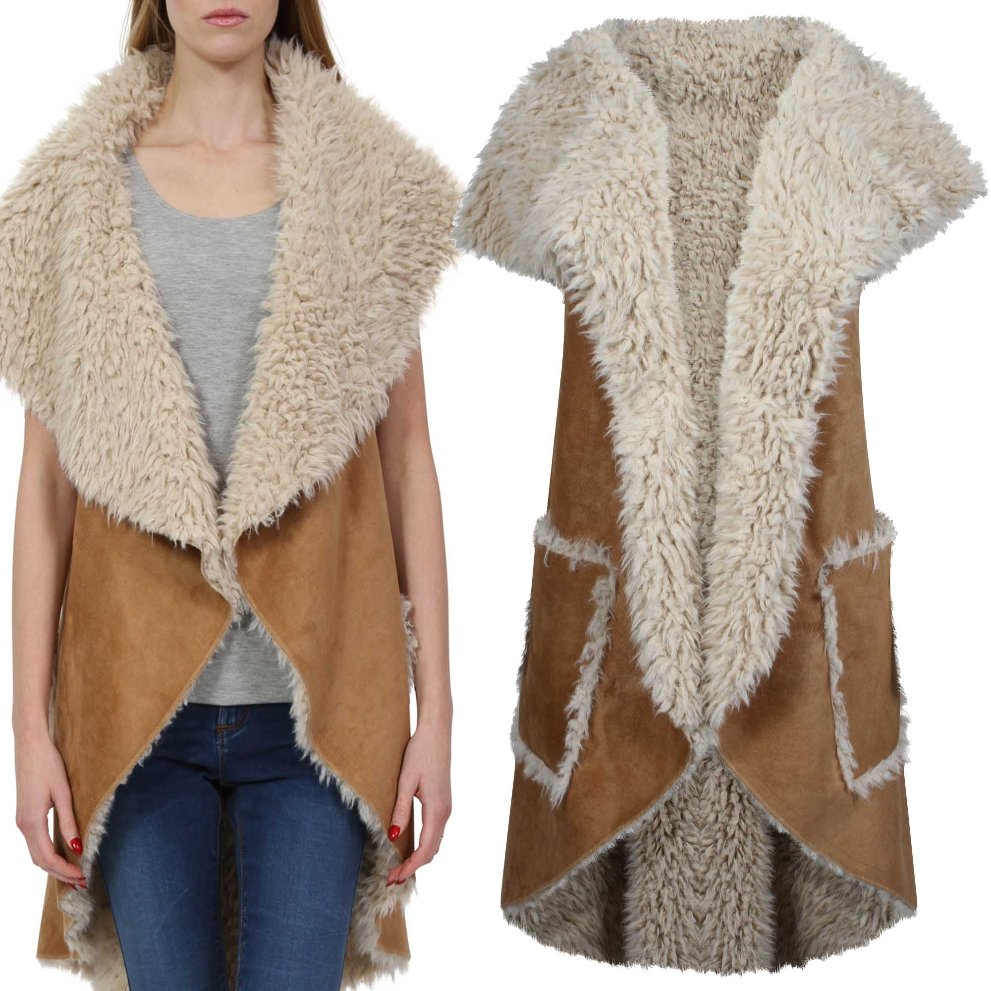 LADIES SLEEVELESS SHEARLING FLEECE WATERFALL JACKET SUEDETTE WOMEN ...