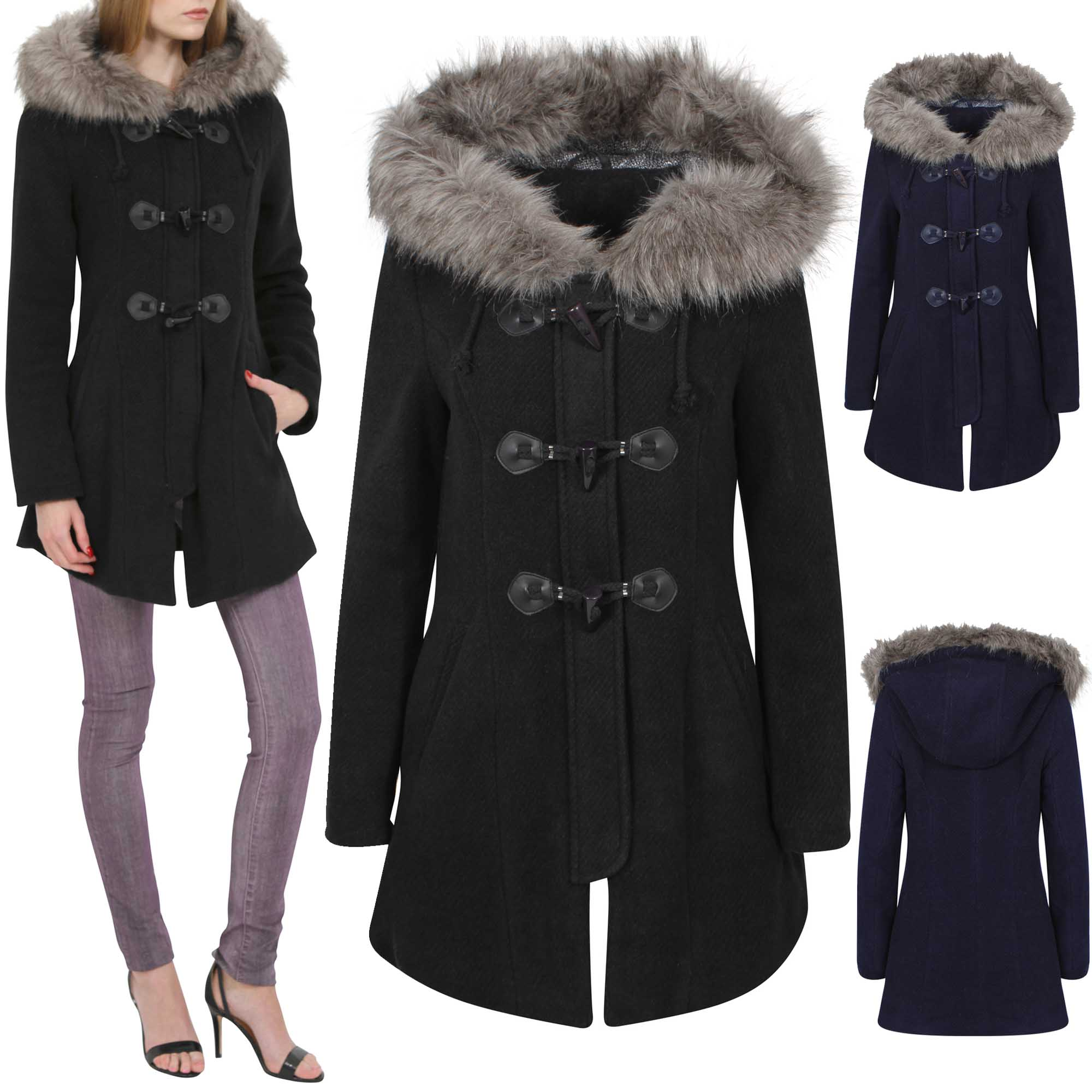 NEW LADIES LONG DUFFLE KNIT COAT WOMEN FUR HOODED BRUSHED WINTER