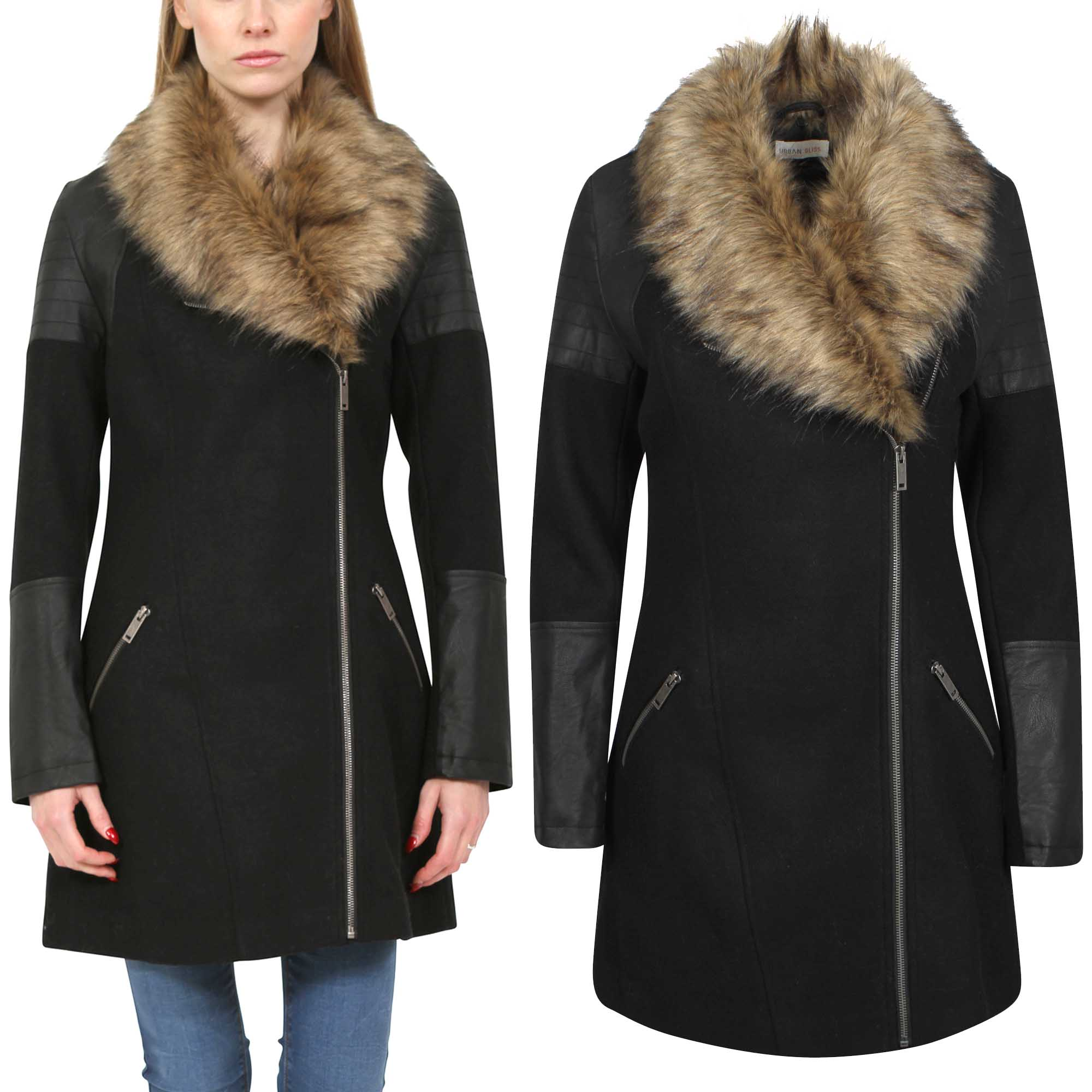 NEW LADIES LONG PU WOOL BIKER COAT WOMENS FUR COLLAR WINTER LOOK