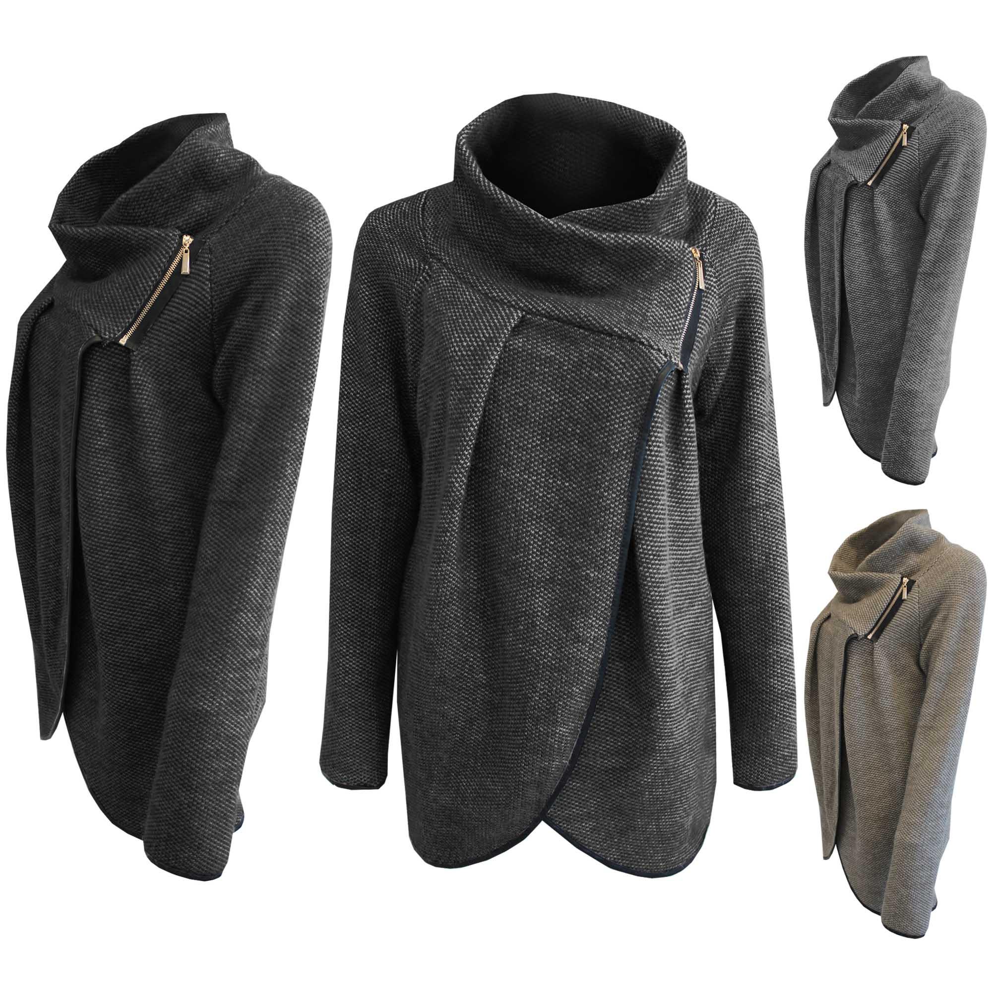Knitting Cardigan Collar : Womens marl knit cardigan drape zip collar cape ladies