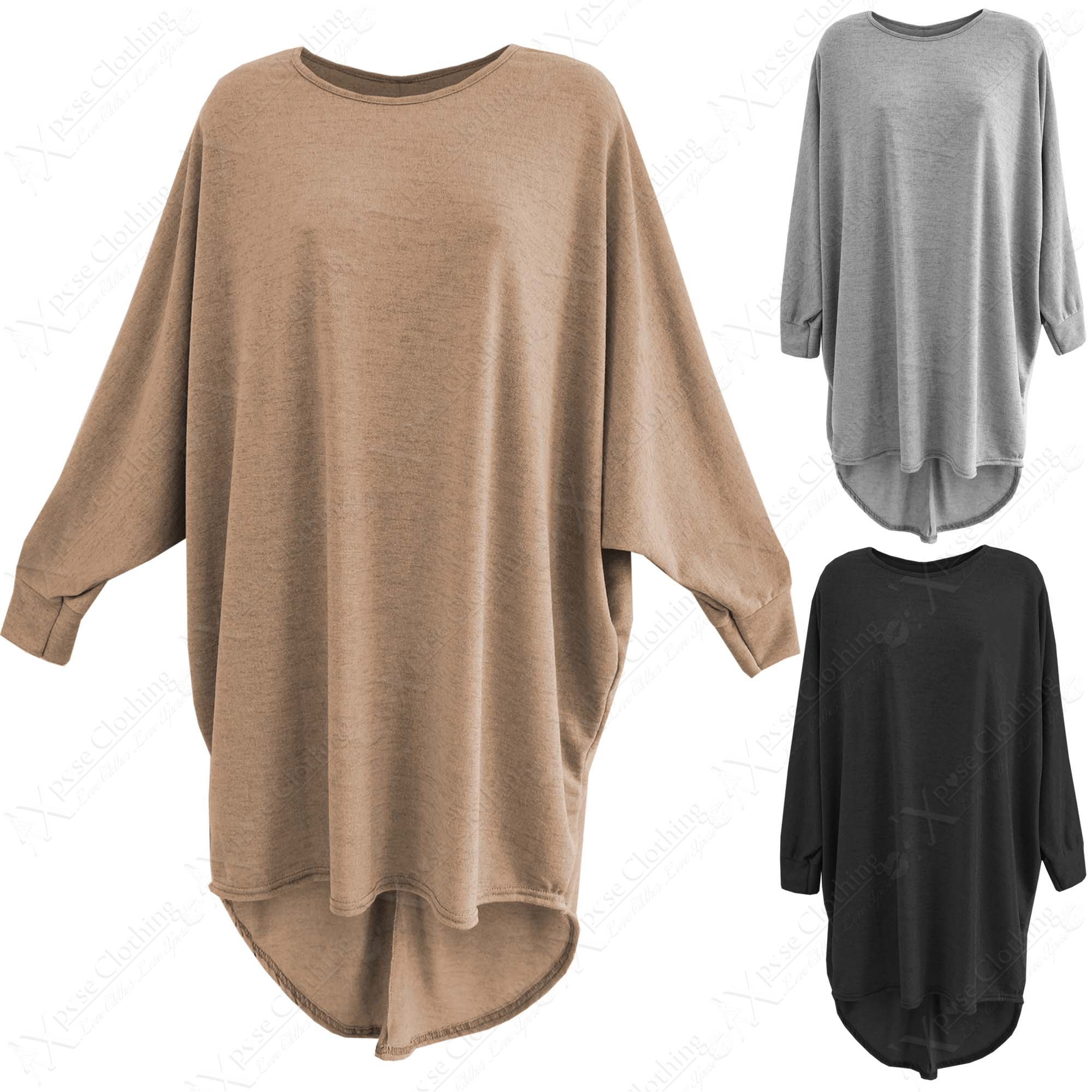 NEW LADIES LONG LOOSE FIT BATWING TOP JUMPER WOMENS KNITTED ...