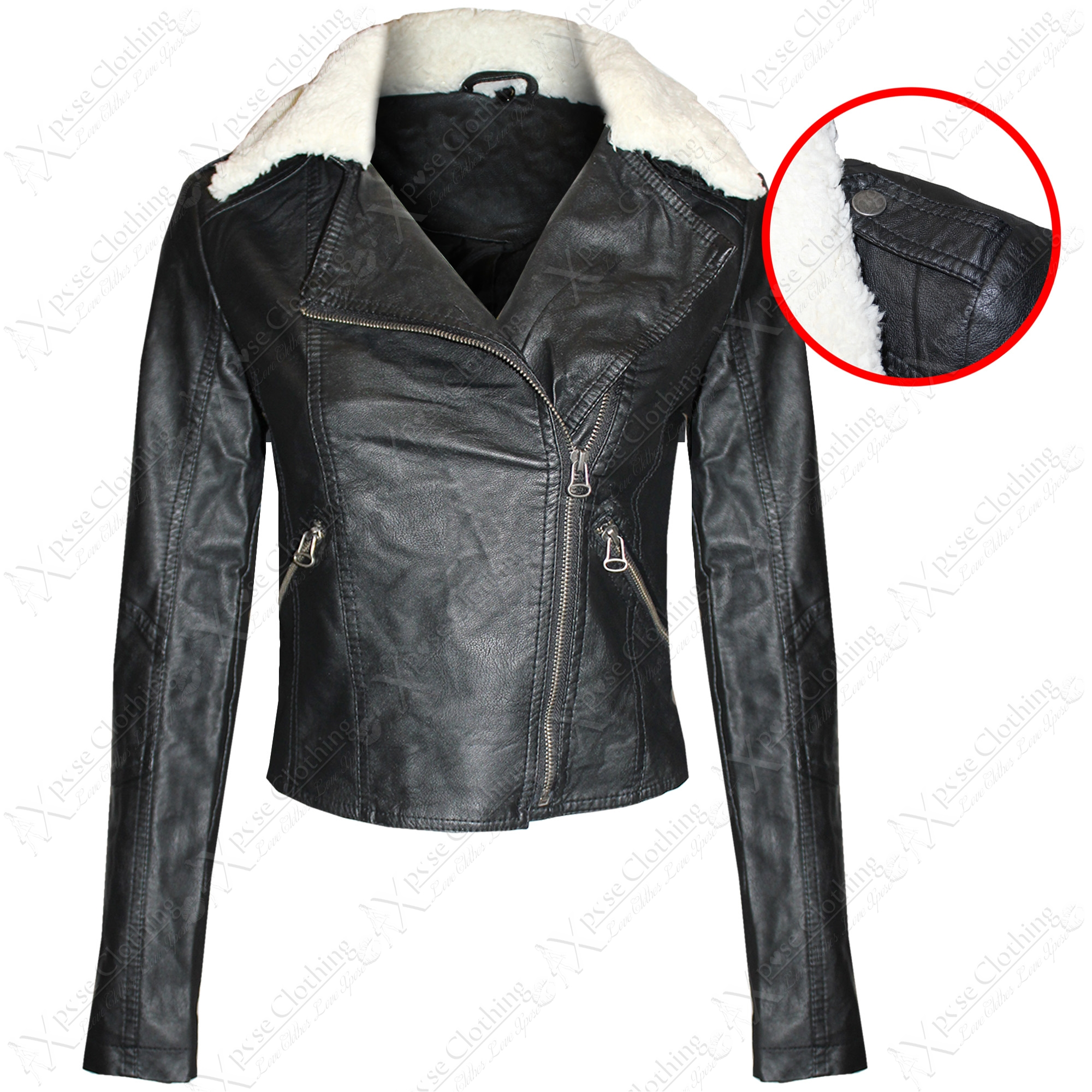 LADIES WOMENS FLEECE FUR COLLAR PU BIKER JACKETS CROP LEATHER PVC ...