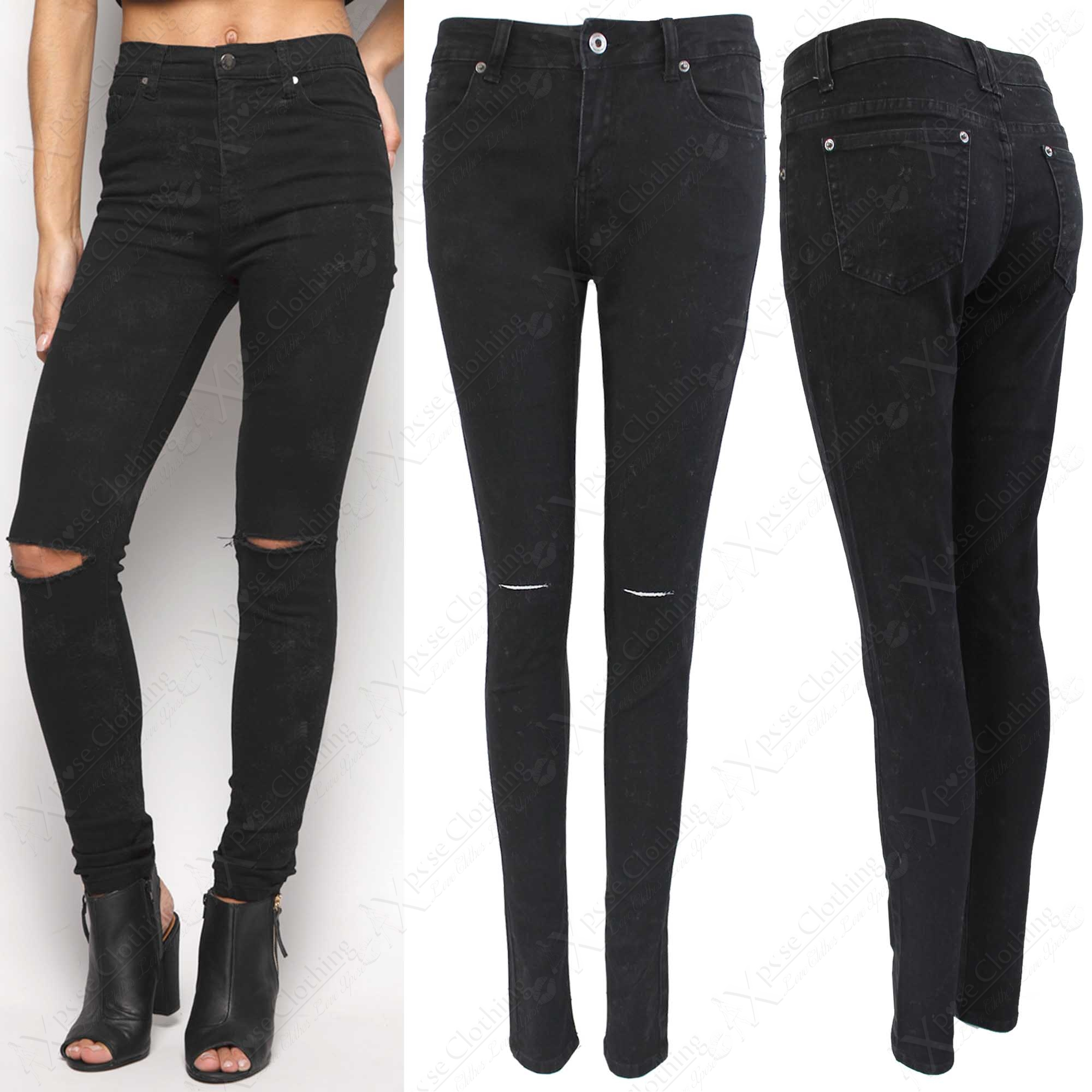 NEW LADIES BLACK RIP KNEE SKINNY JEANS WOMENS RIPPED CUT STRETCH ...