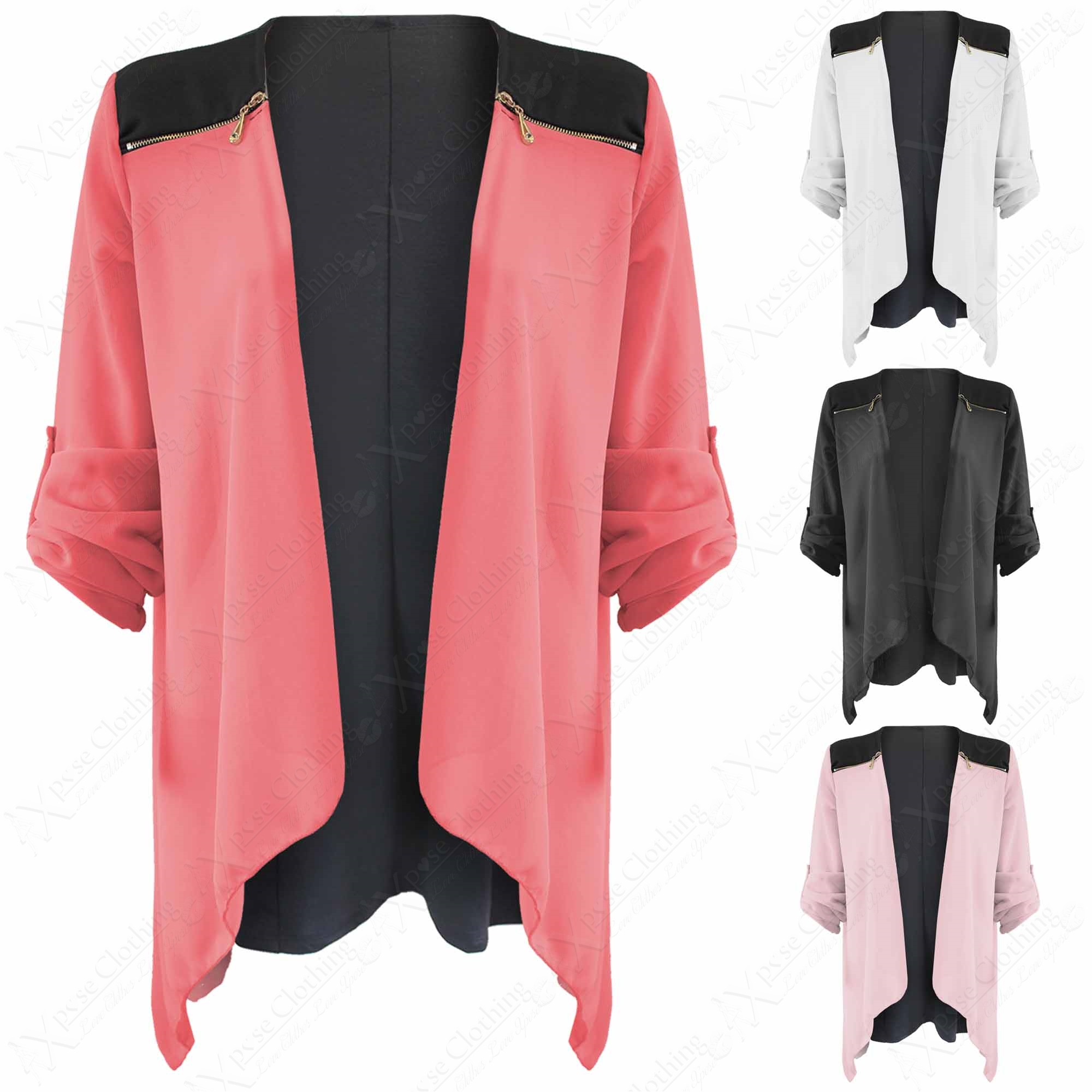 NEW LADIES LONG CHIFFON WATERFALL CARDIGAN TOPS WOMEN ZIP ...