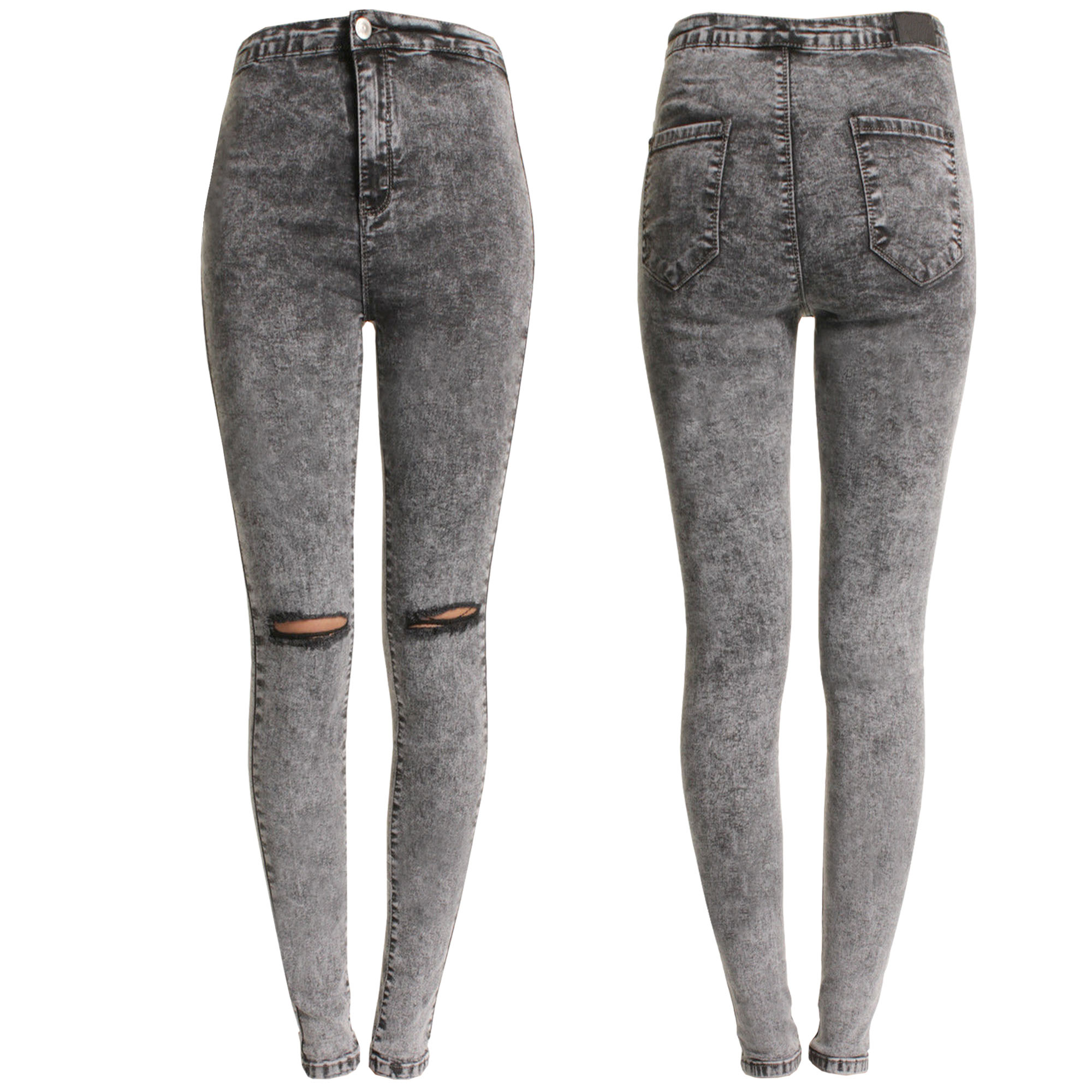 NEW LADIES GREY ACID WASH RIPPED KNEE SKINNY JEANS WOMENS HIGH ...