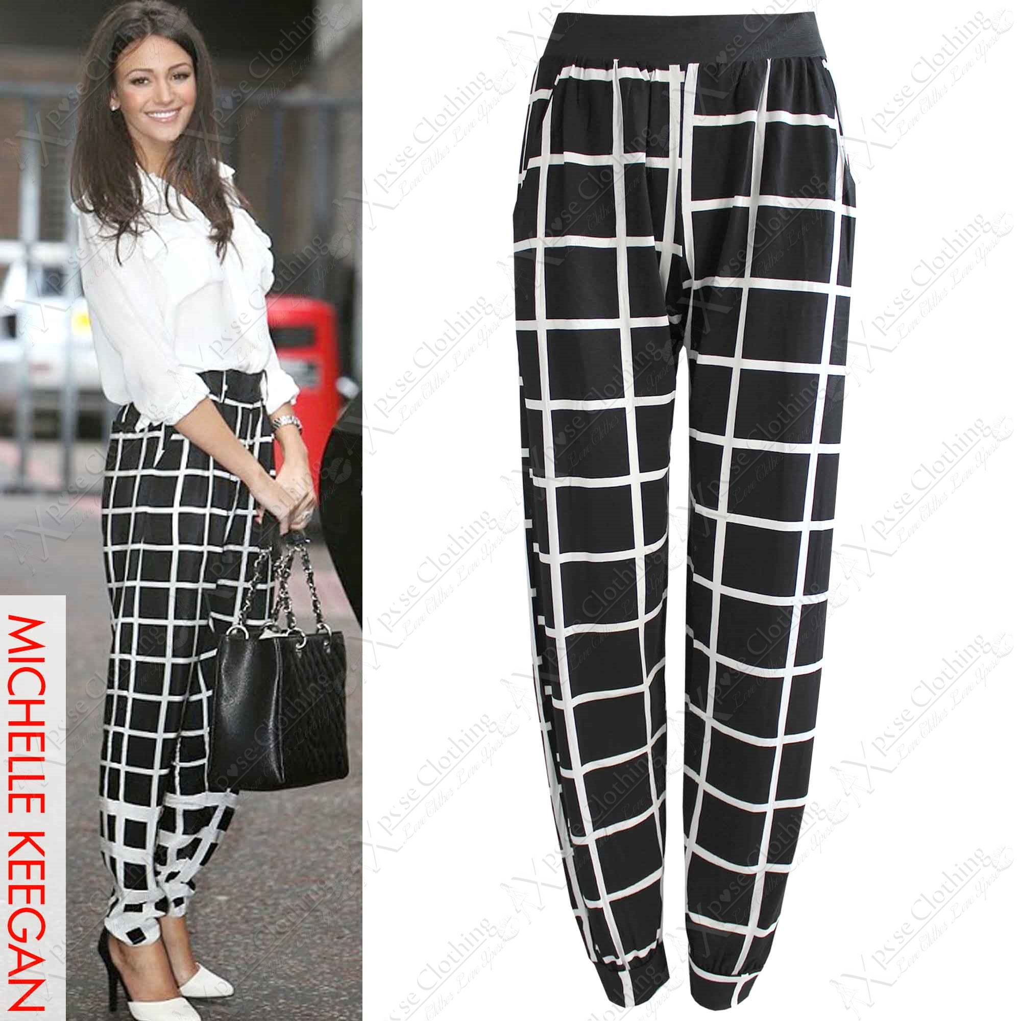 NEW WOMEN BLACK CHECK PRINT TROUSERS LADIES STRETCH FIT HARIM LOOK ...